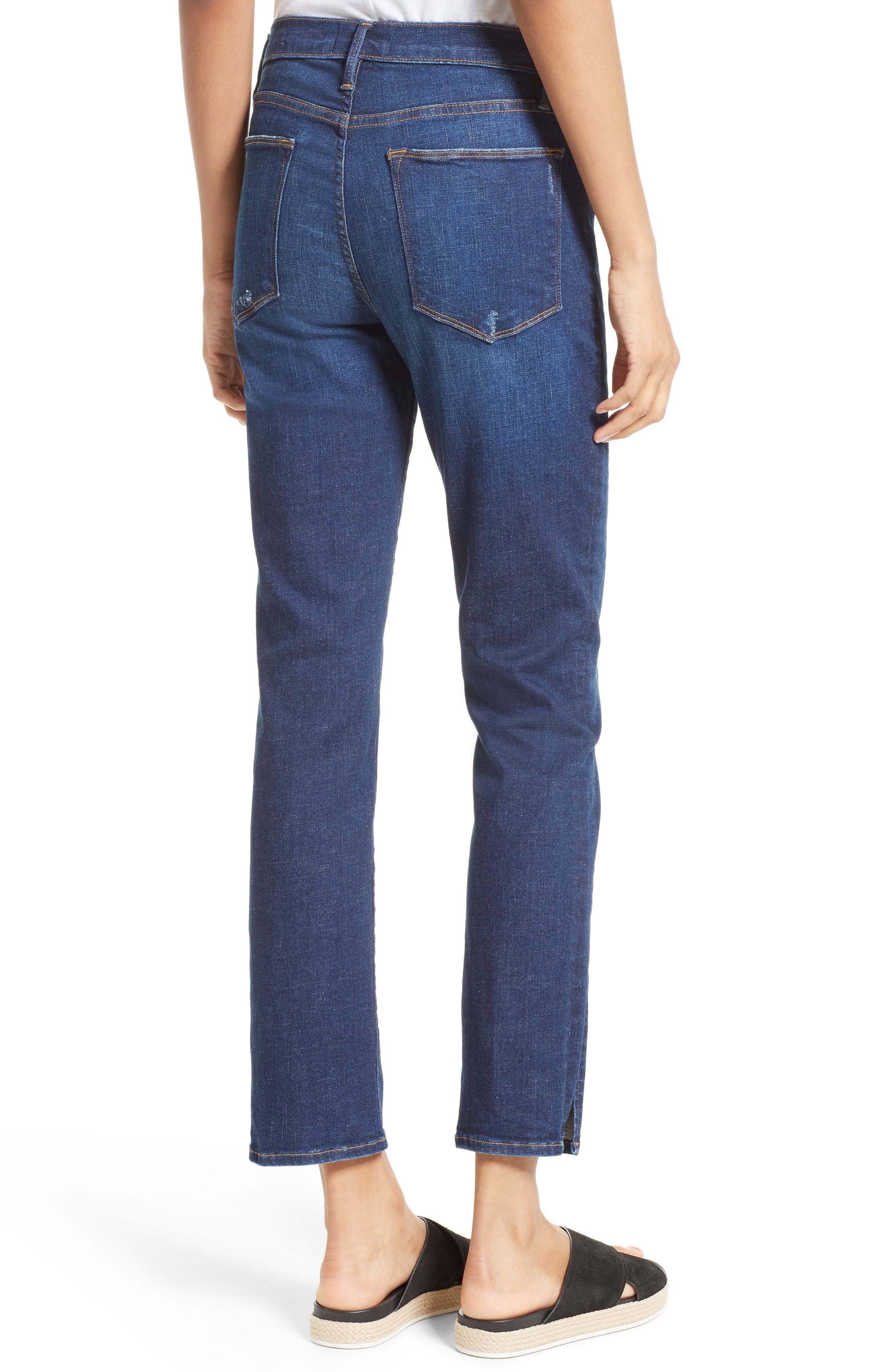Le High Straight Leg Tuxedo Jeans,                             Alternate thumbnail 3, color,                             Helms