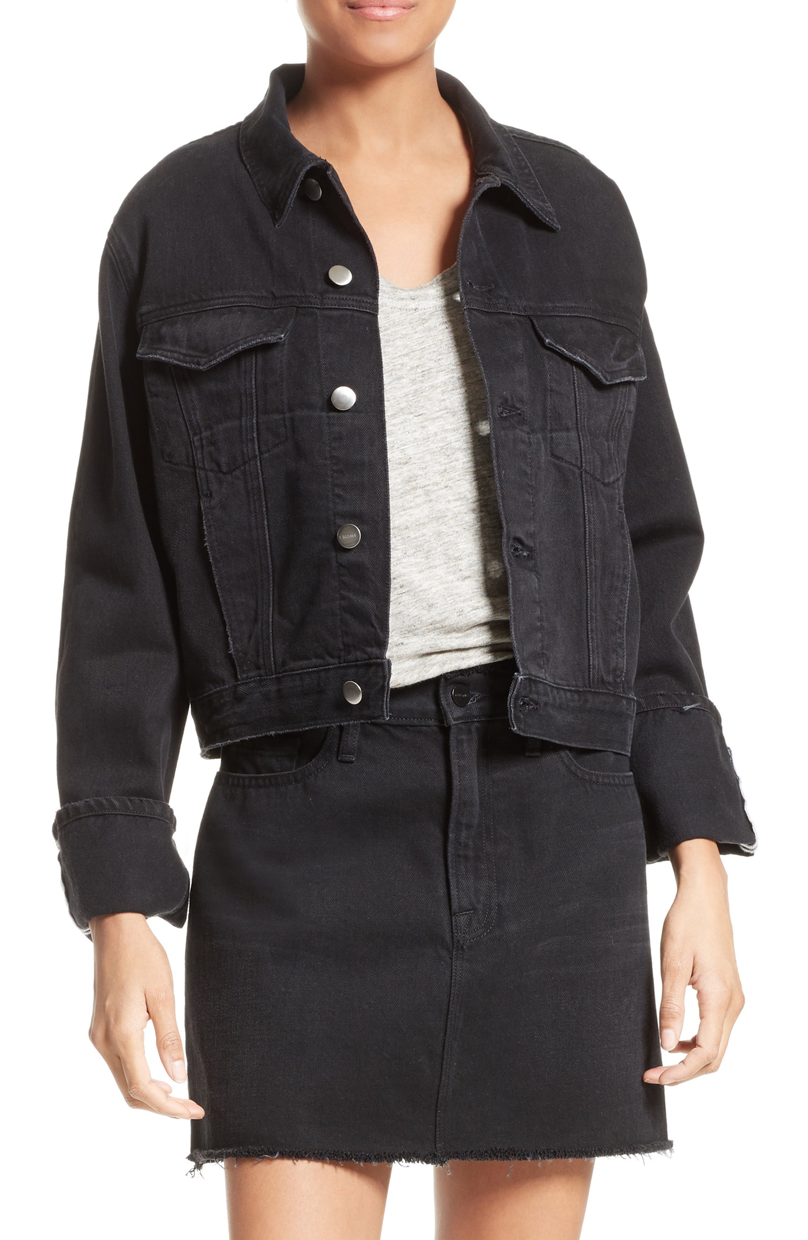 Le Cuffed Denim Jacket,                             Main thumbnail 1, color,                             Black Knight