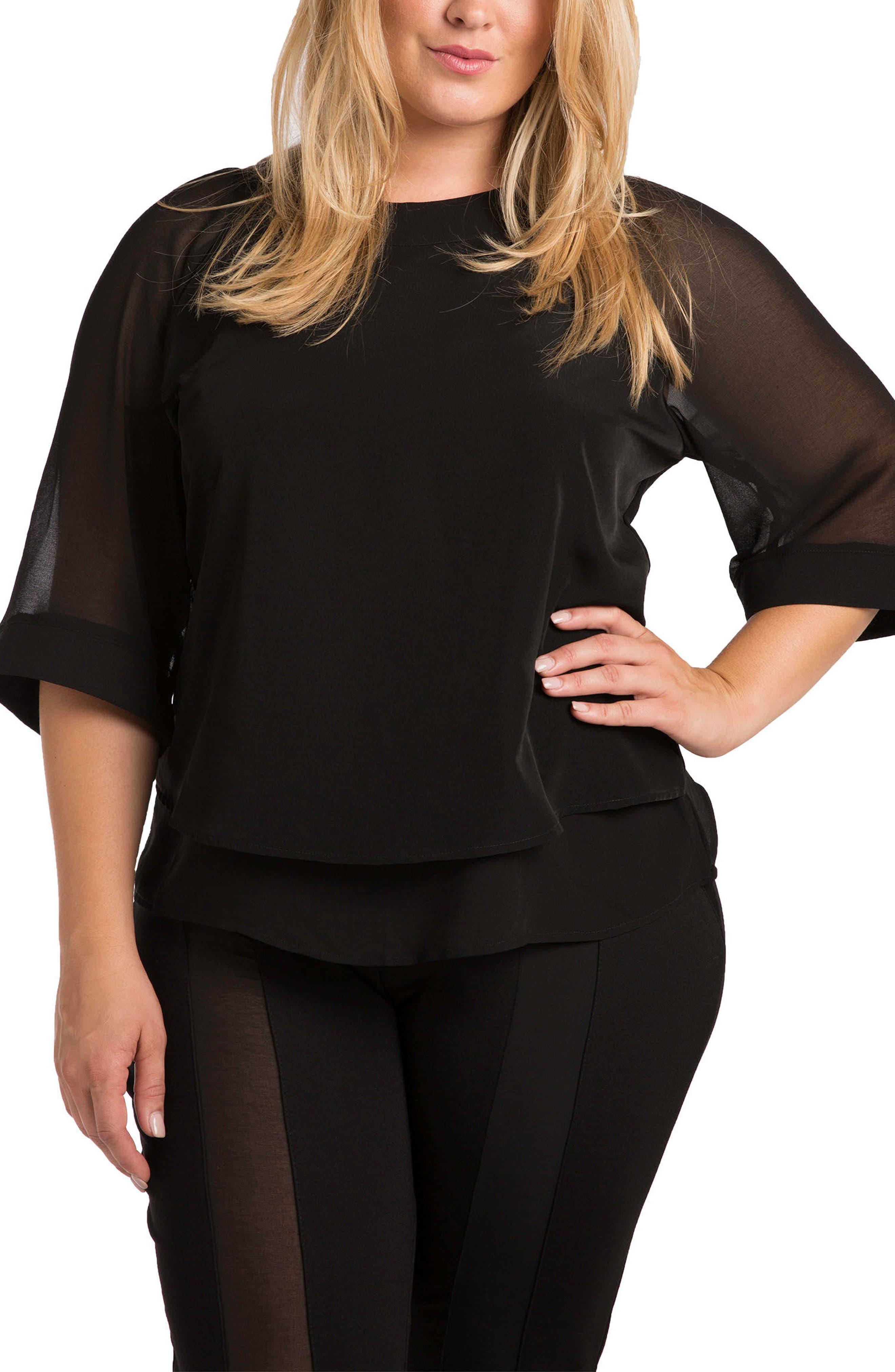 Milla Sheer Skimmer Top,                         Main,                         color, Black