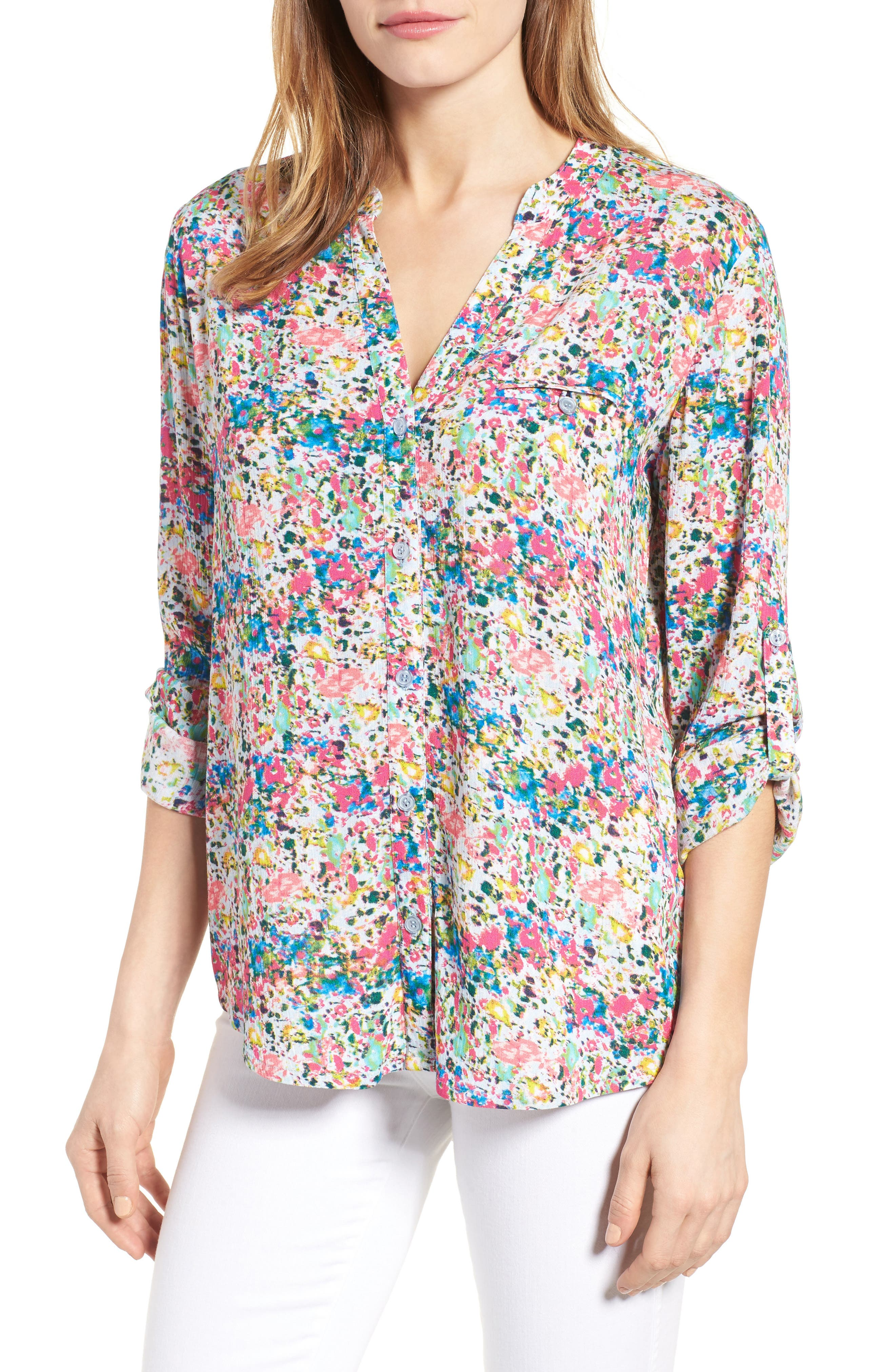 KUT from the Kloth 'Jasmine' Floral Print Roll Sleeve Blouse