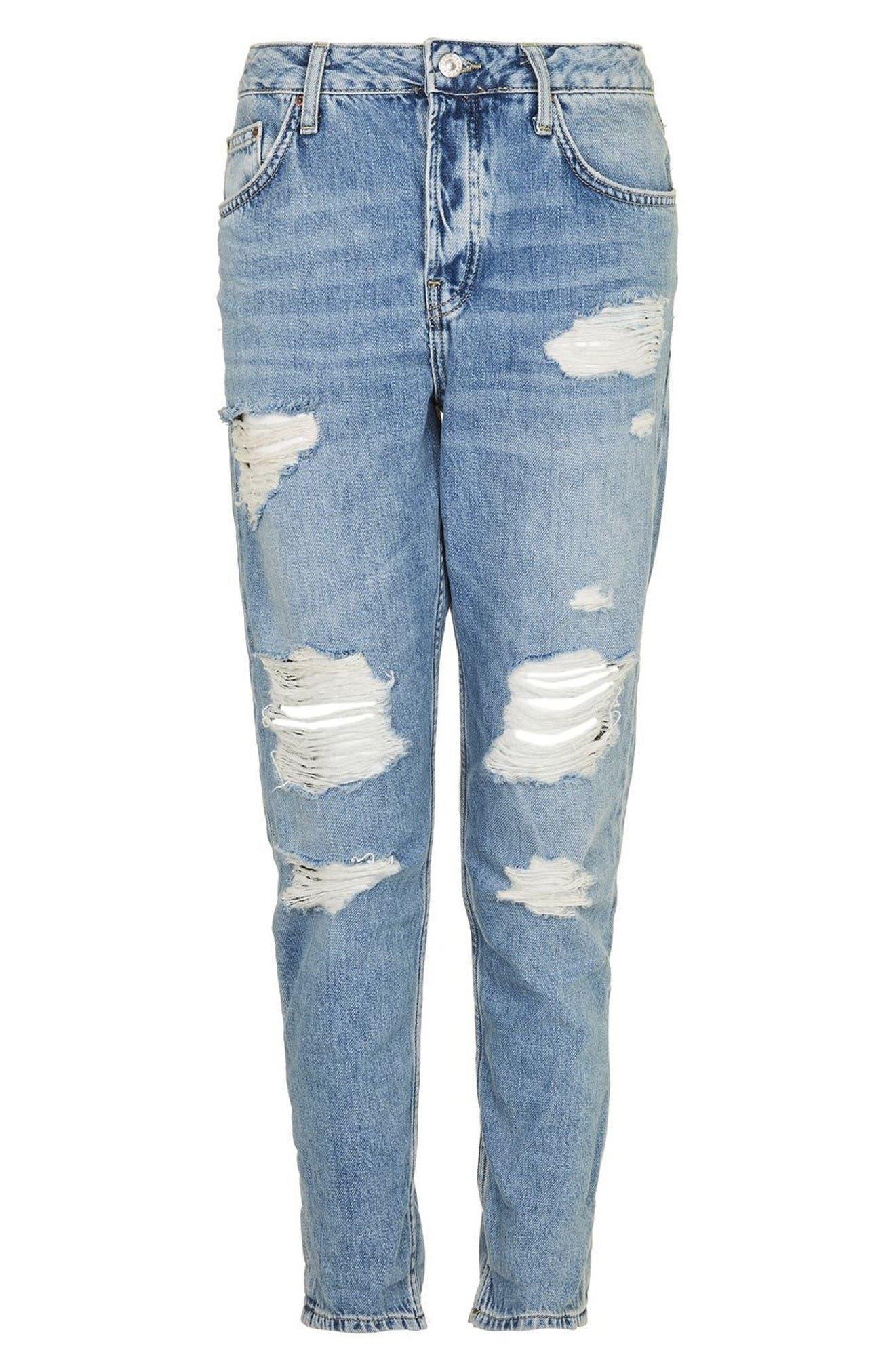 Hayden Super Ripped Boyfriend Jeans,                             Alternate thumbnail 4, color,                             Light Denim