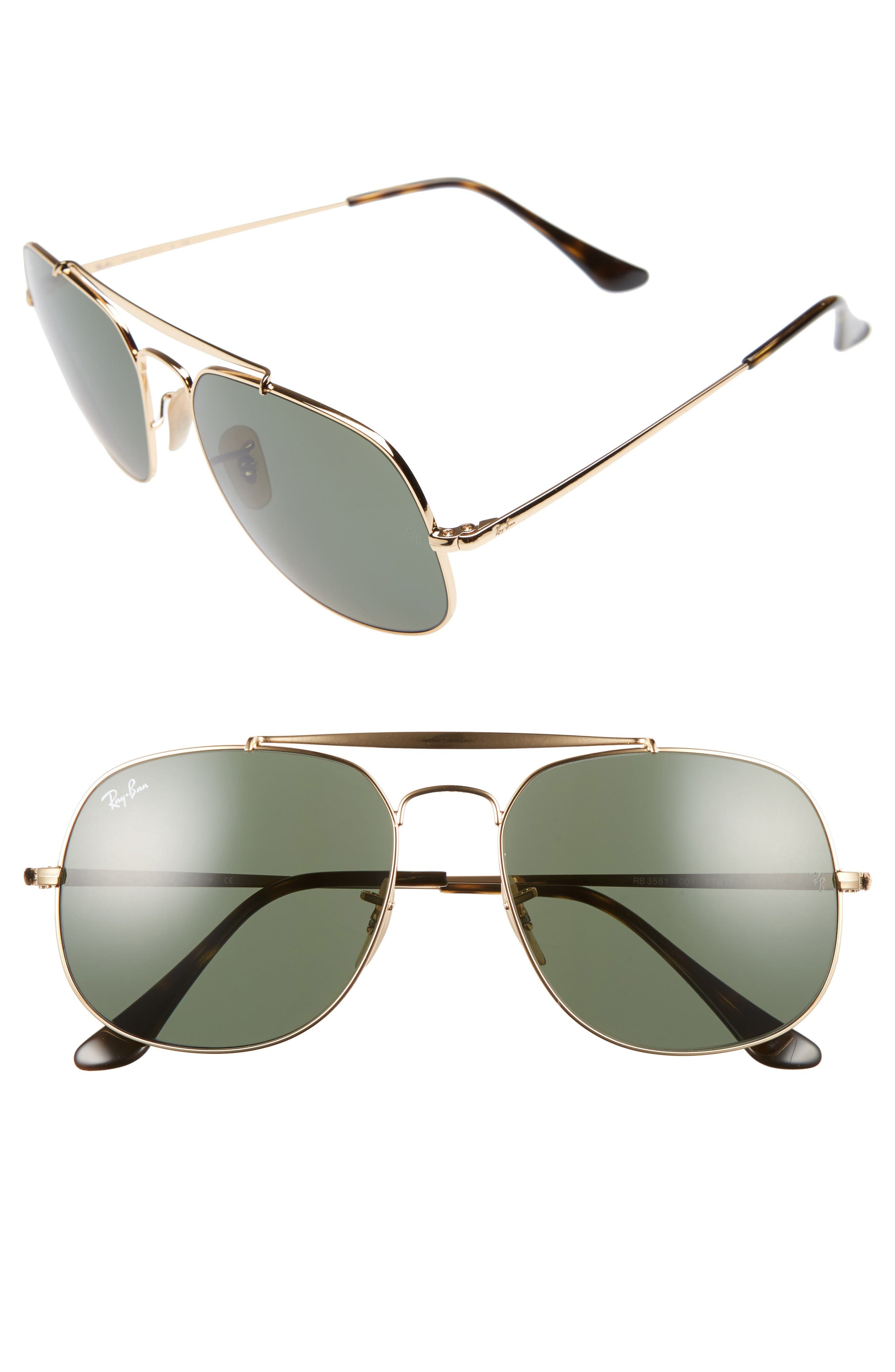 Ray-Ban The General 57mm Aviator Sunglasses