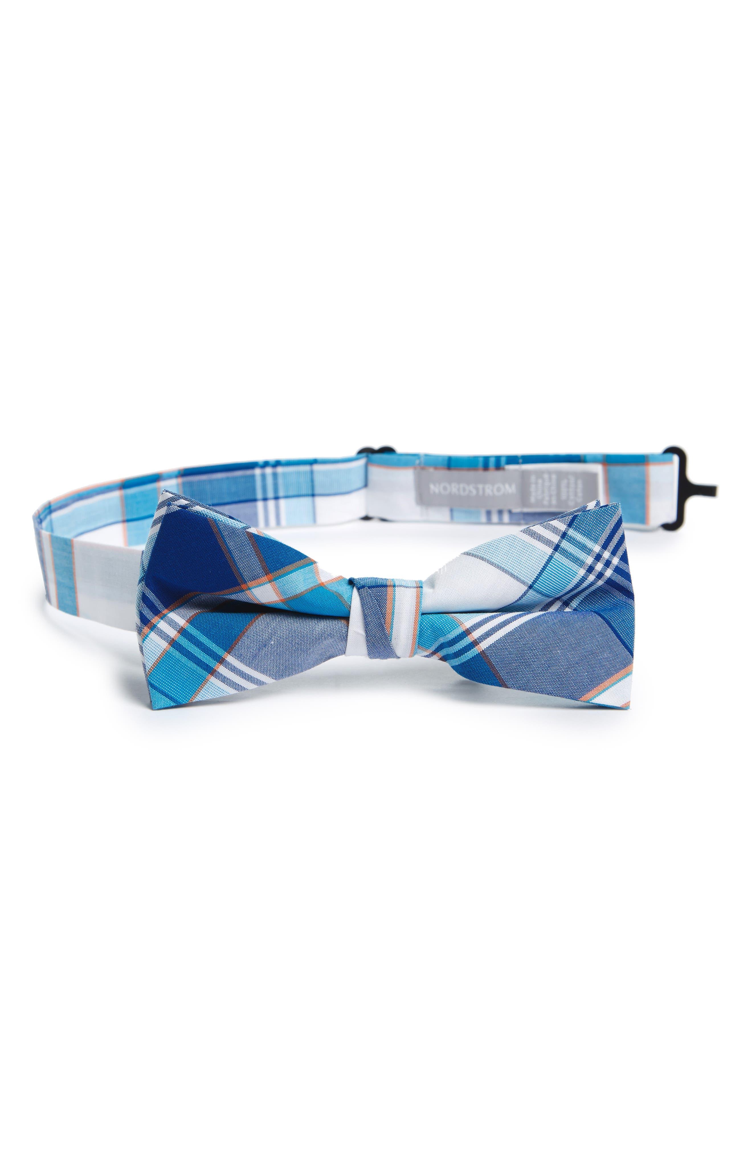 NORDSTROM Plaid Cotton Bow Tie