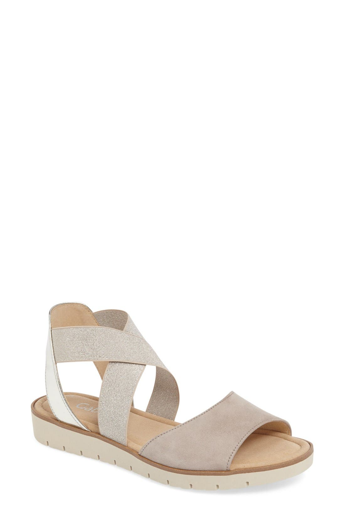 Strappy Sandal,                         Main,                         color, Beige Leather