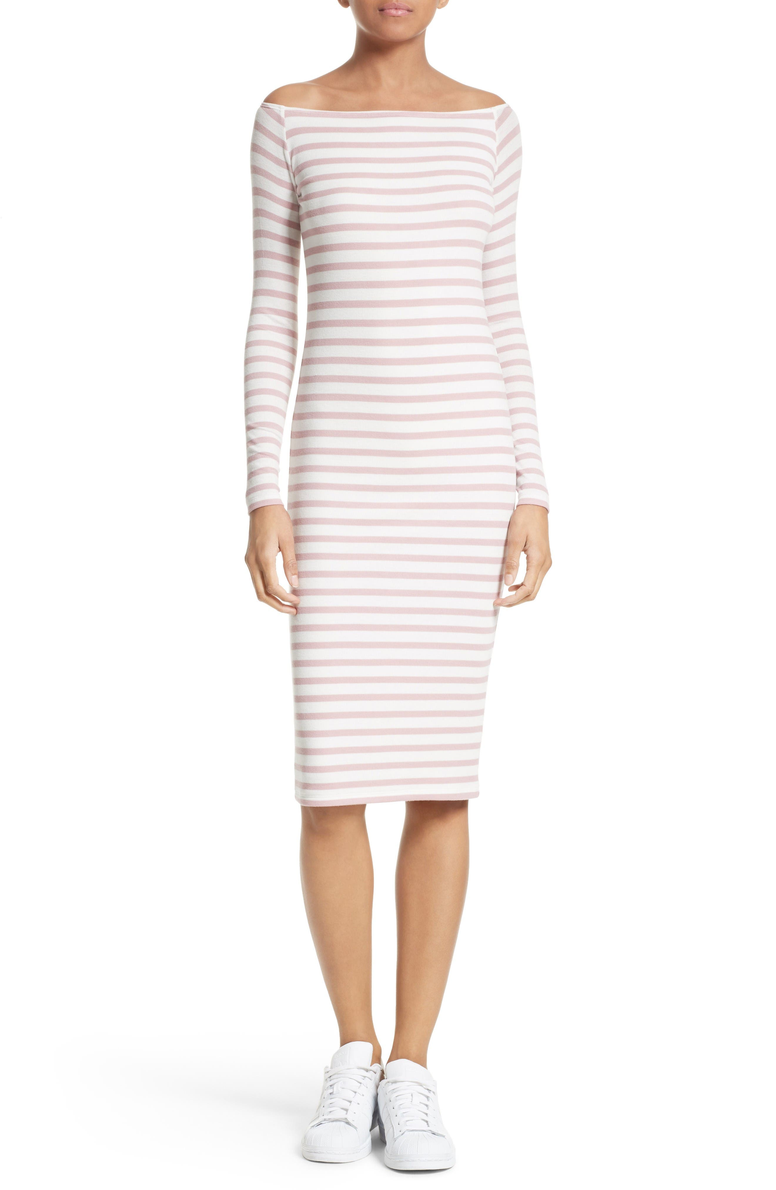 Off the Shoulder Rib Dress,                             Main thumbnail 1, color,                             Nutmeg/ Chalk Stripe