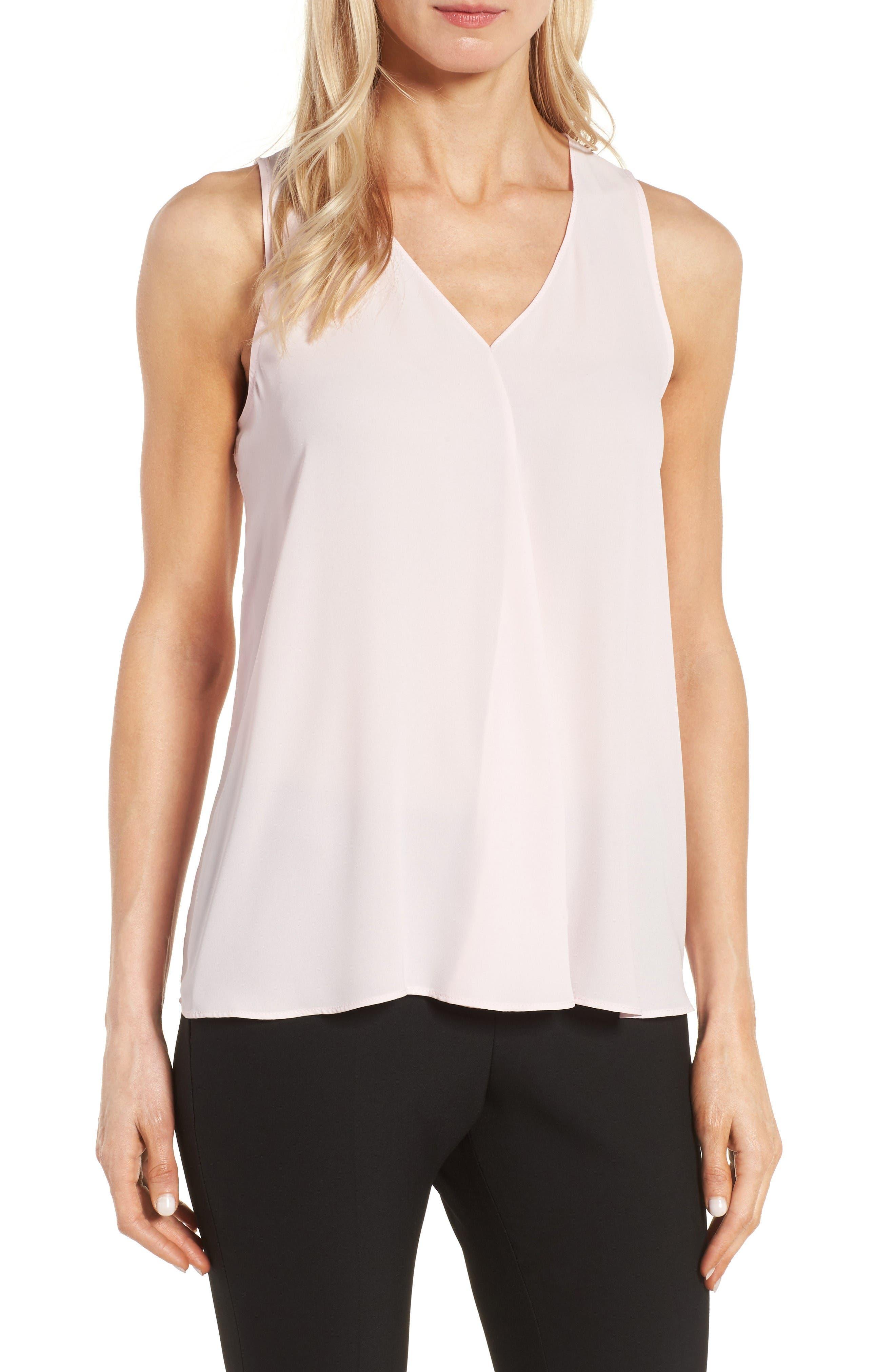 Drape Front V-Neck Sleeveless Blouse,                         Main,                         color, Pale Dahlia