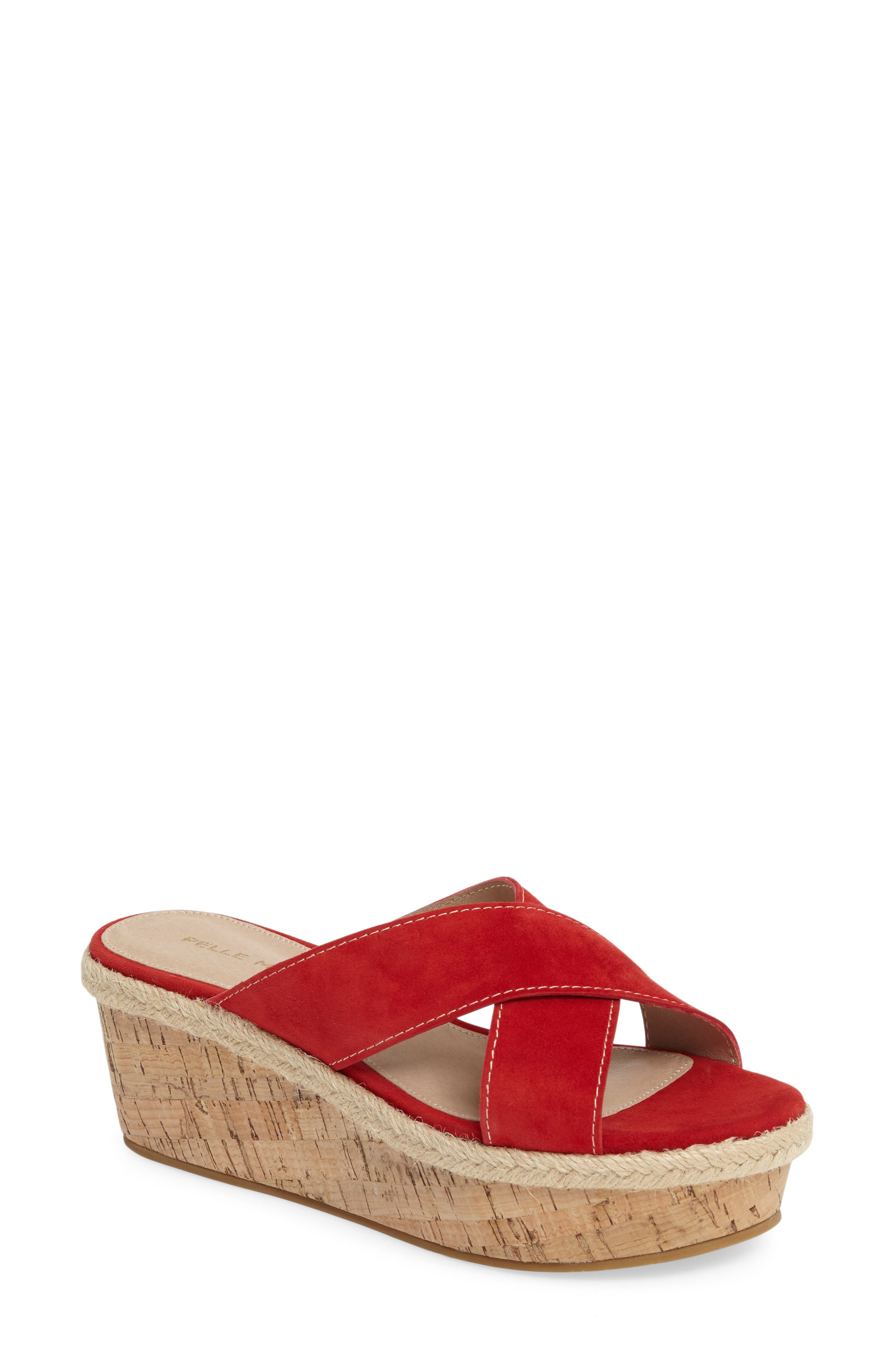 Harriet Platform Wedge Sandal,                             Main thumbnail 1, color,                             Lipstick Leather