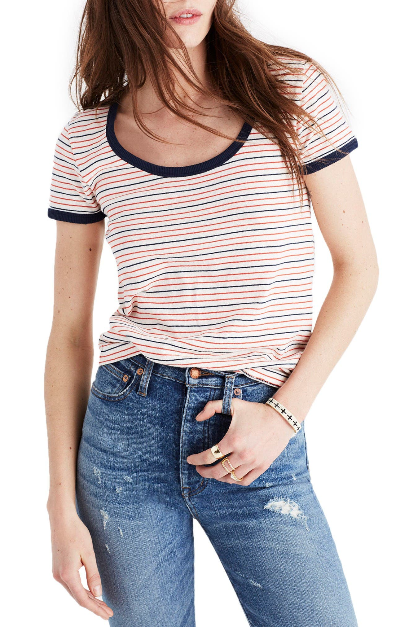 Stripe Recycled Cotton Ringer Tee,                             Main thumbnail 1, color,                             Thai Chili