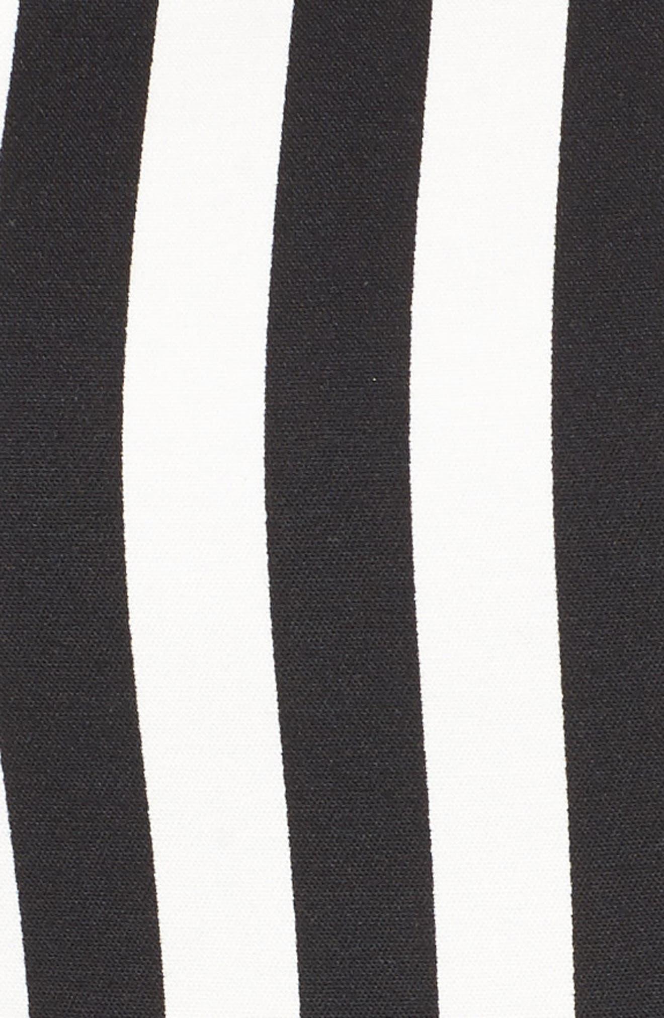 Stripe Fit & Flare Dress,                             Alternate thumbnail 5, color,                             Black Multi/ Black