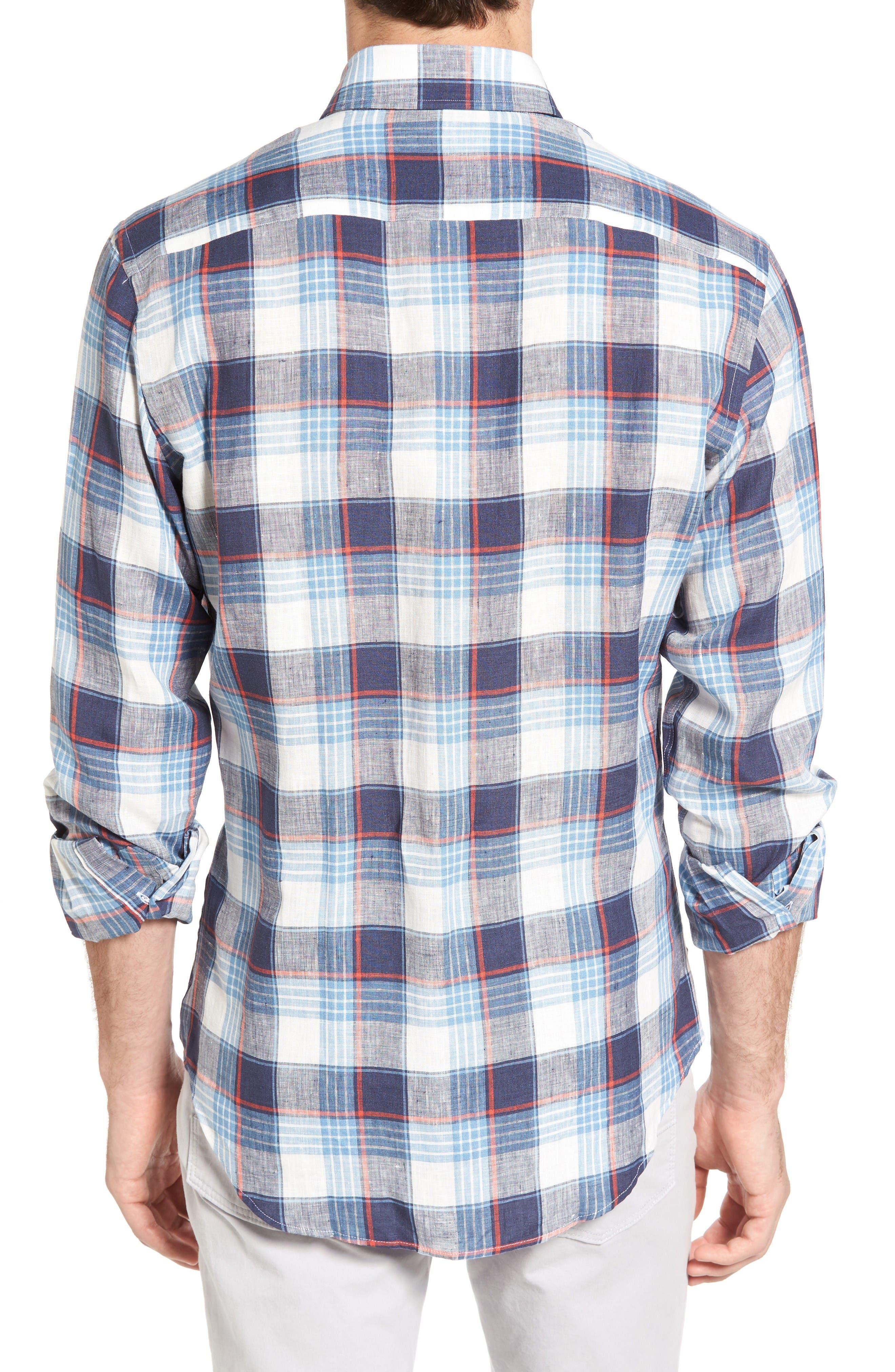 Trim Fit Plaid Linen Sport Shirt,                             Alternate thumbnail 2, color,                             Cadet Blue