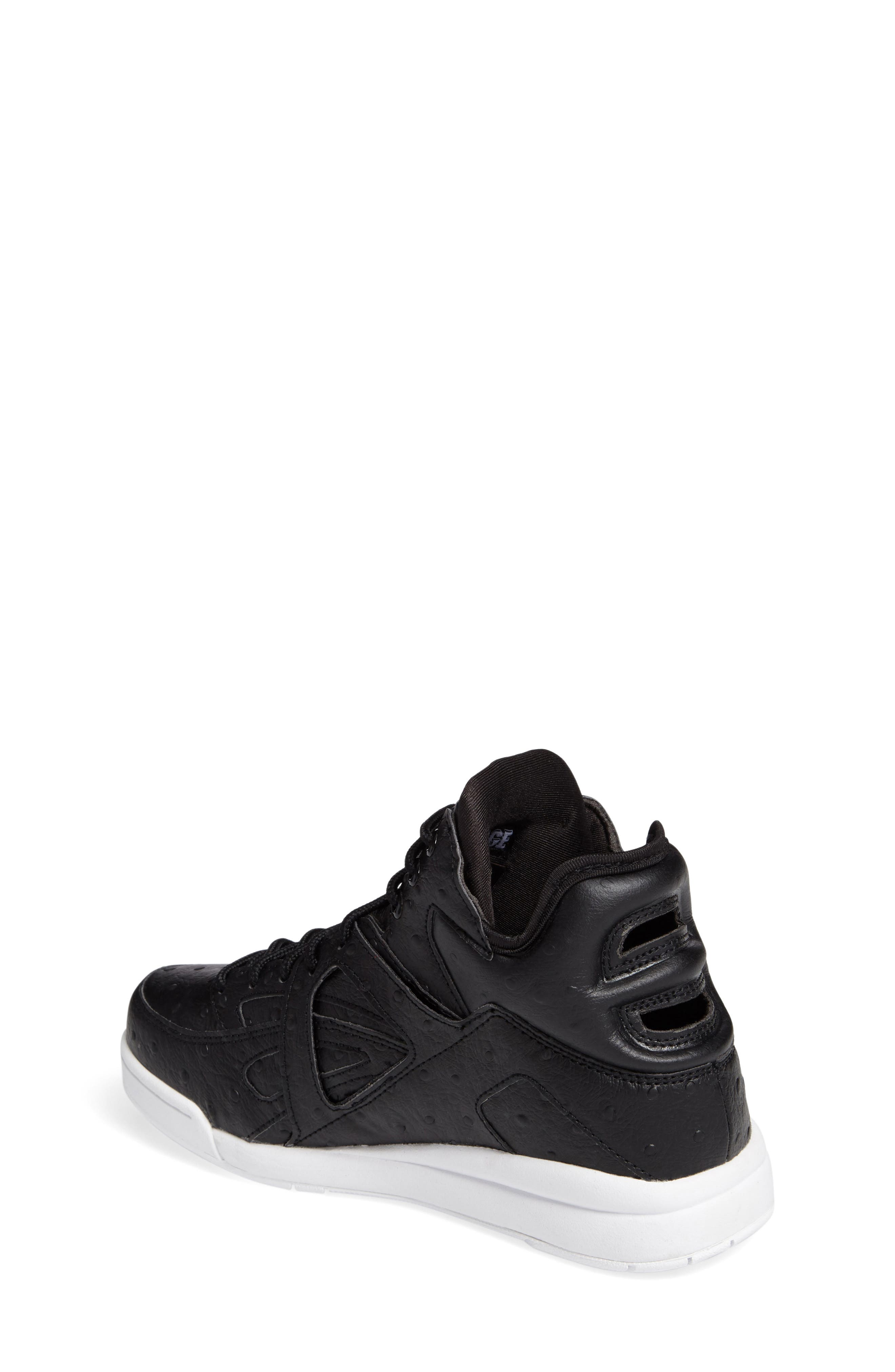 The Cage Ostrich Sneaker,                             Alternate thumbnail 2, color,                             Black