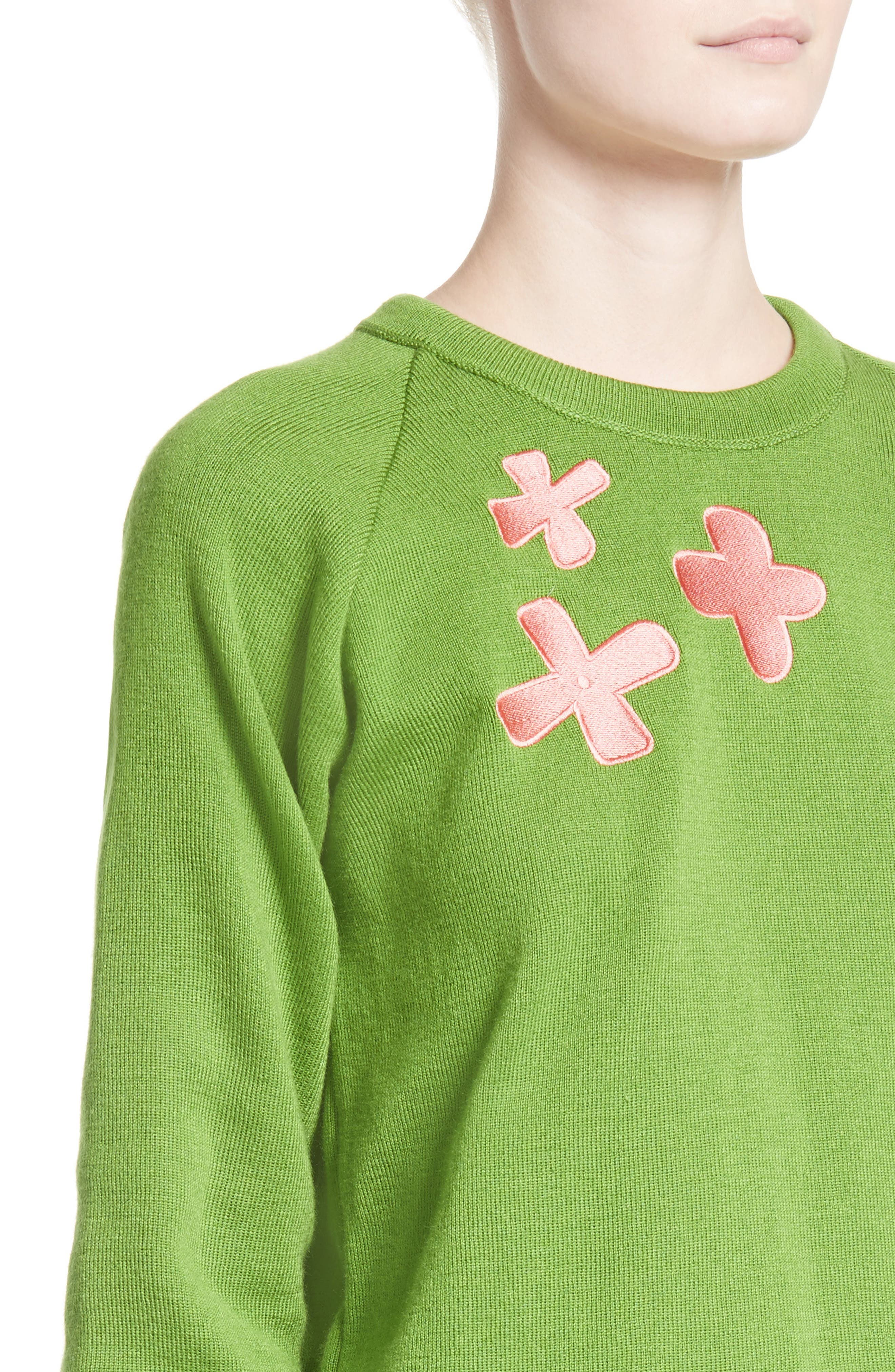 Charlie Sweater,                             Alternate thumbnail 6, color,                             Green/ Pink