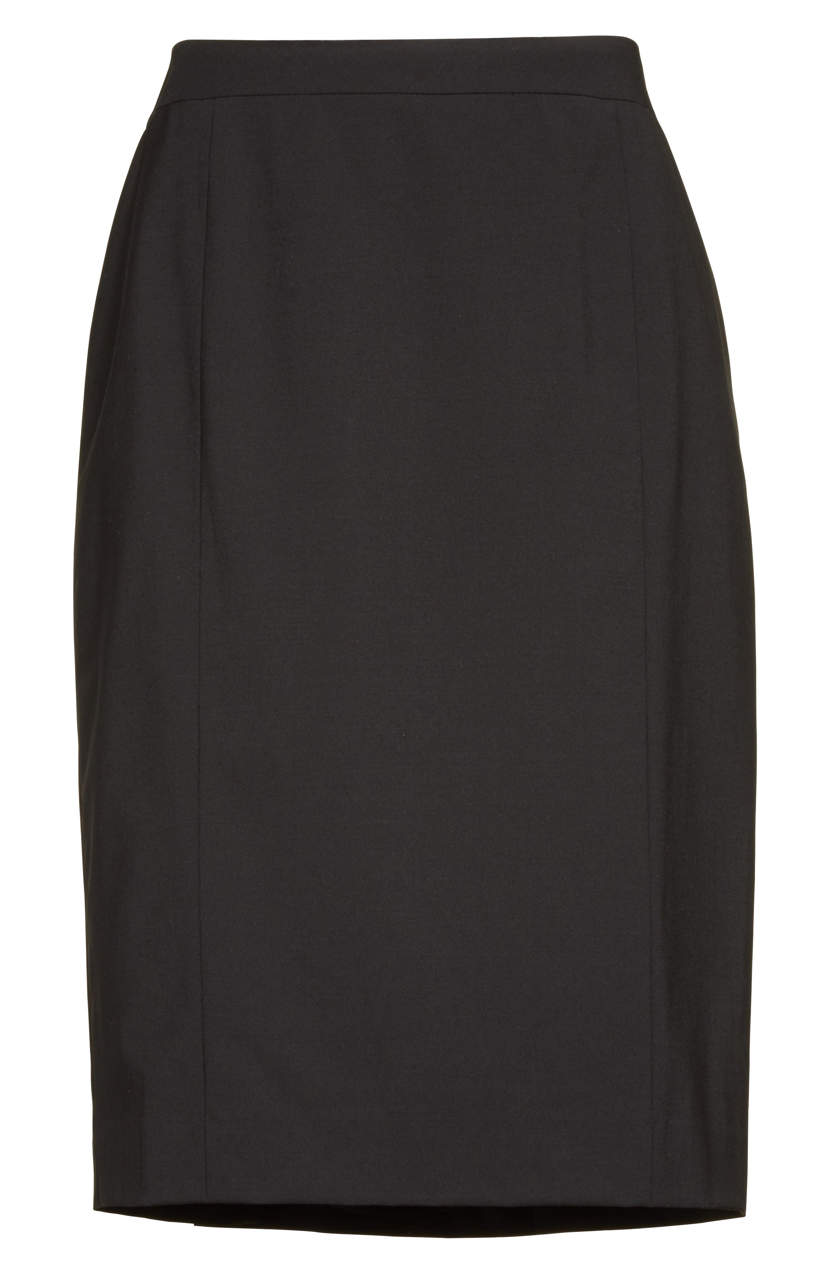 Stretch Wool Pencil Skirt,                             Alternate thumbnail 4, color,                             Black