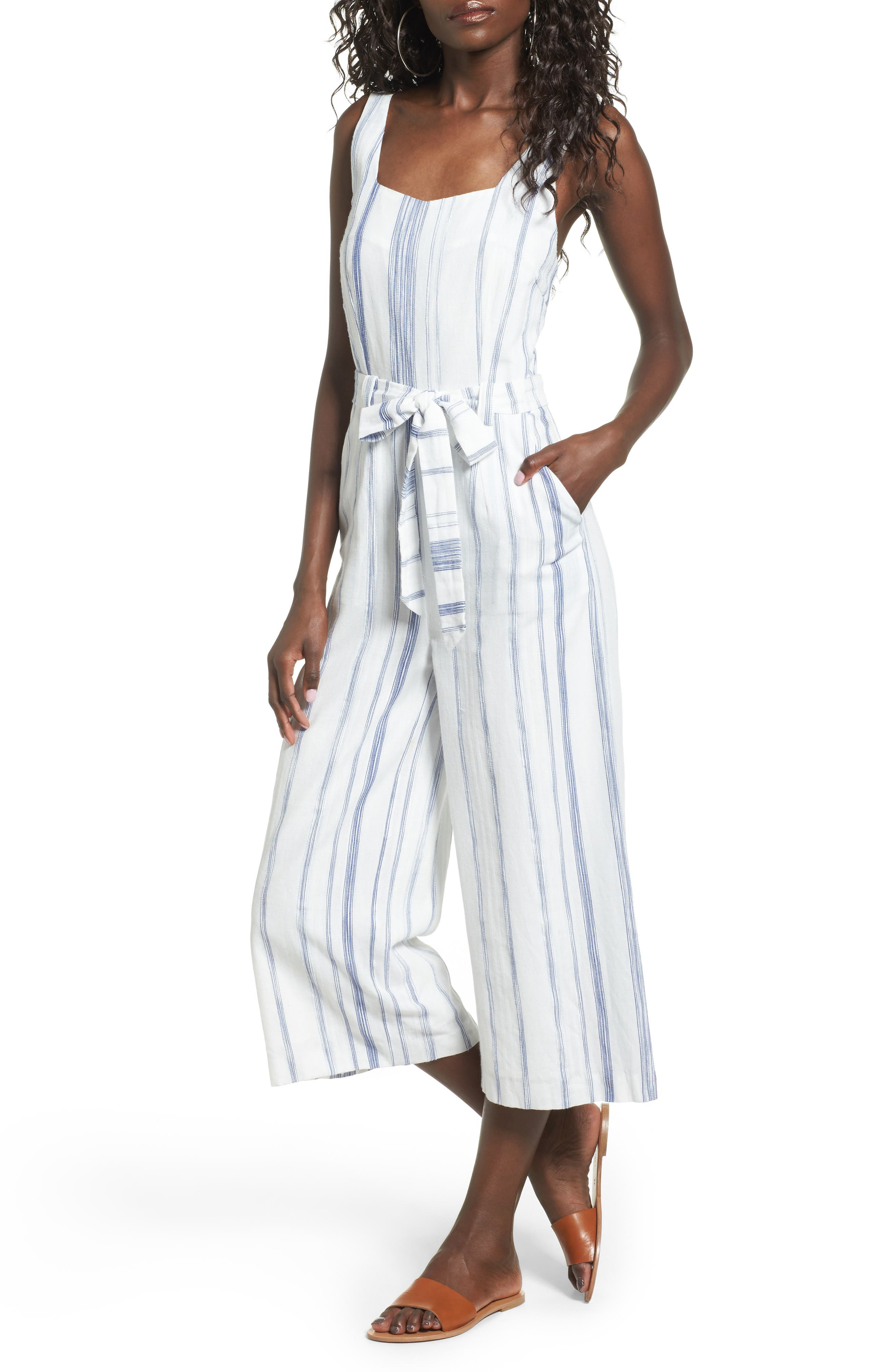 Alternate Image 1 Selected - J.O.A. Crop Stripe Cotton Jumpsuit