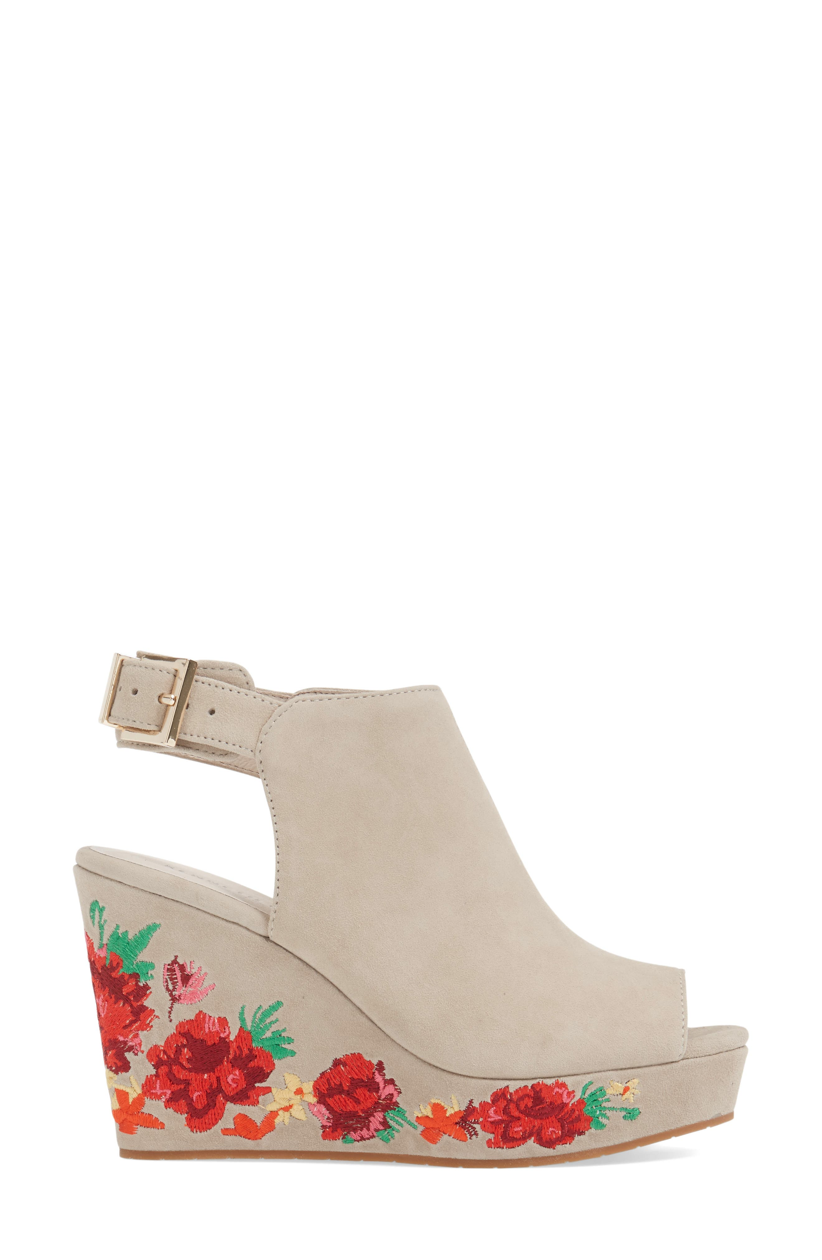 Olani Embroidered Wedge Sandal,                             Alternate thumbnail 3, color,                             Taupe Suede