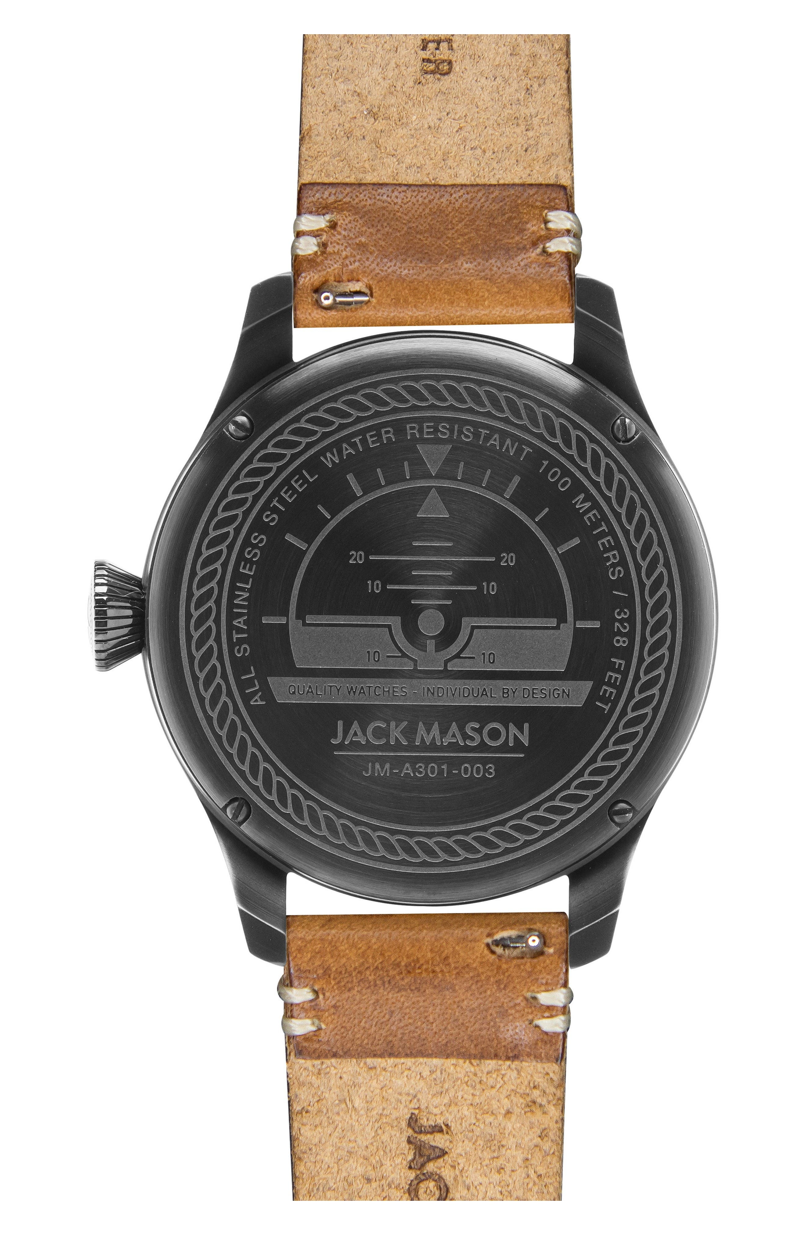 Aviation Leather Strap Watch, 45mm,                             Alternate thumbnail 3, color,                             Brown/ Black