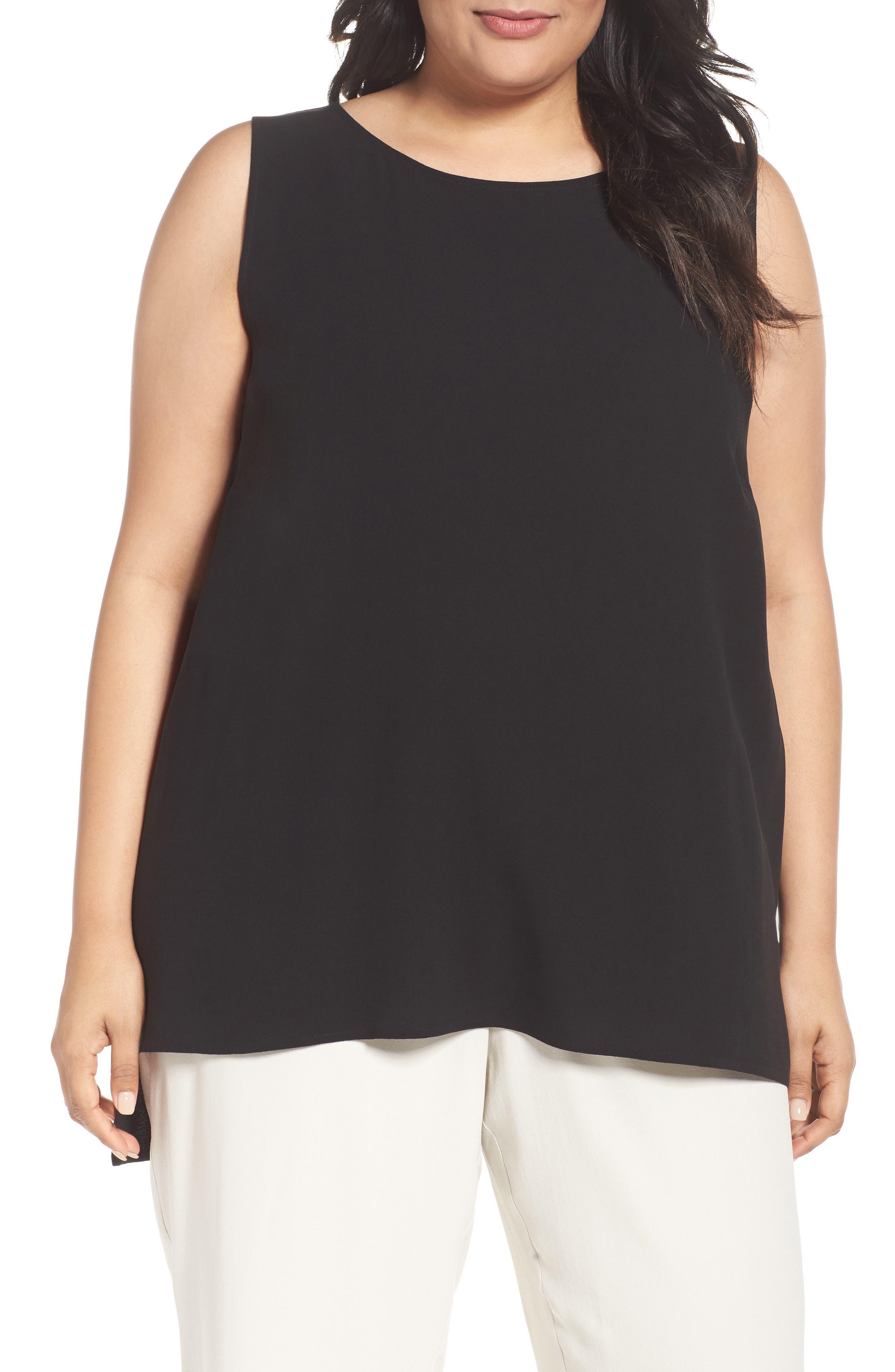 Silk Georgette Crepe Top,                         Main,                         color, Black