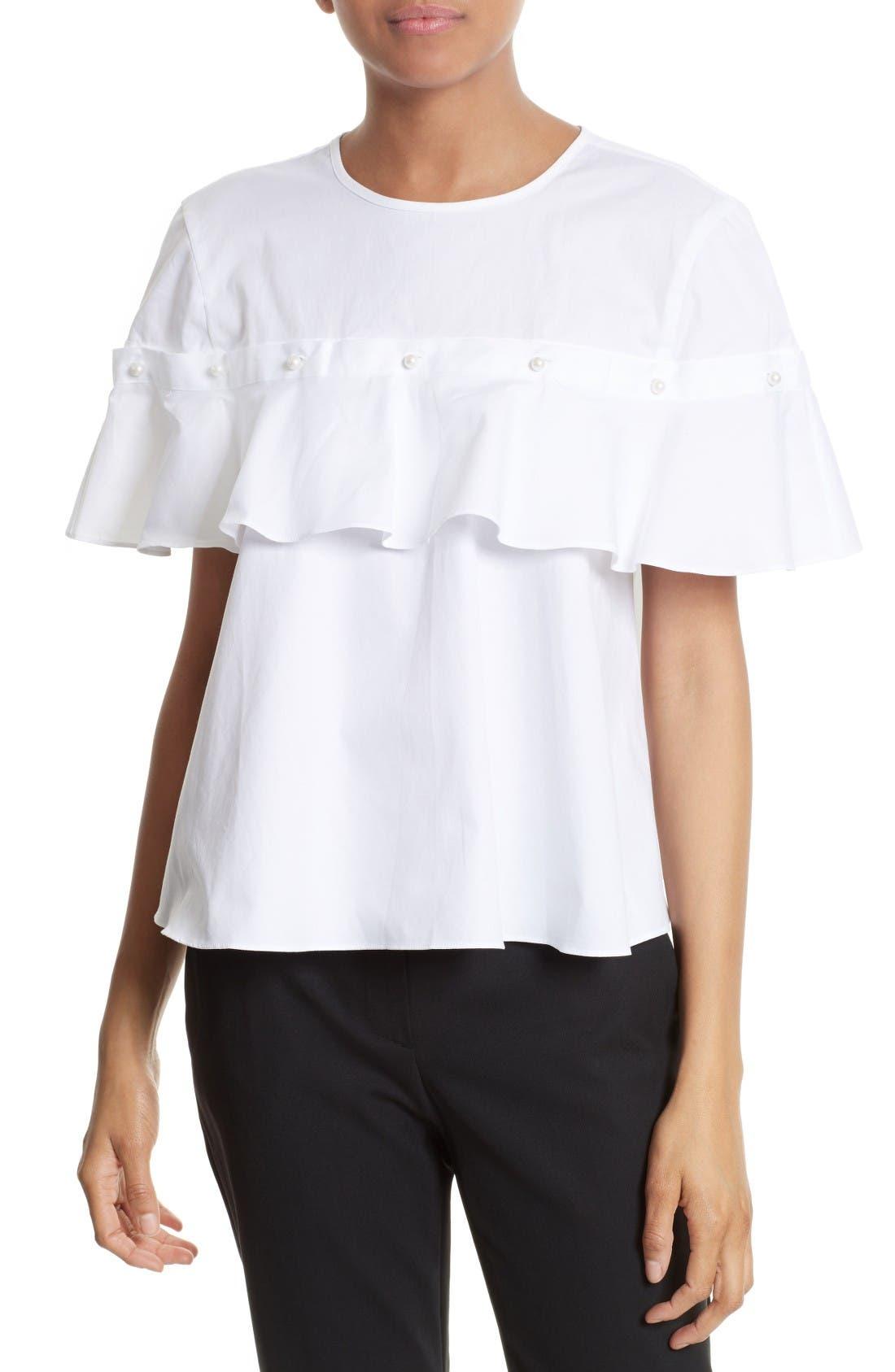 Cotton Ruffle Top,                         Main,                         color, White