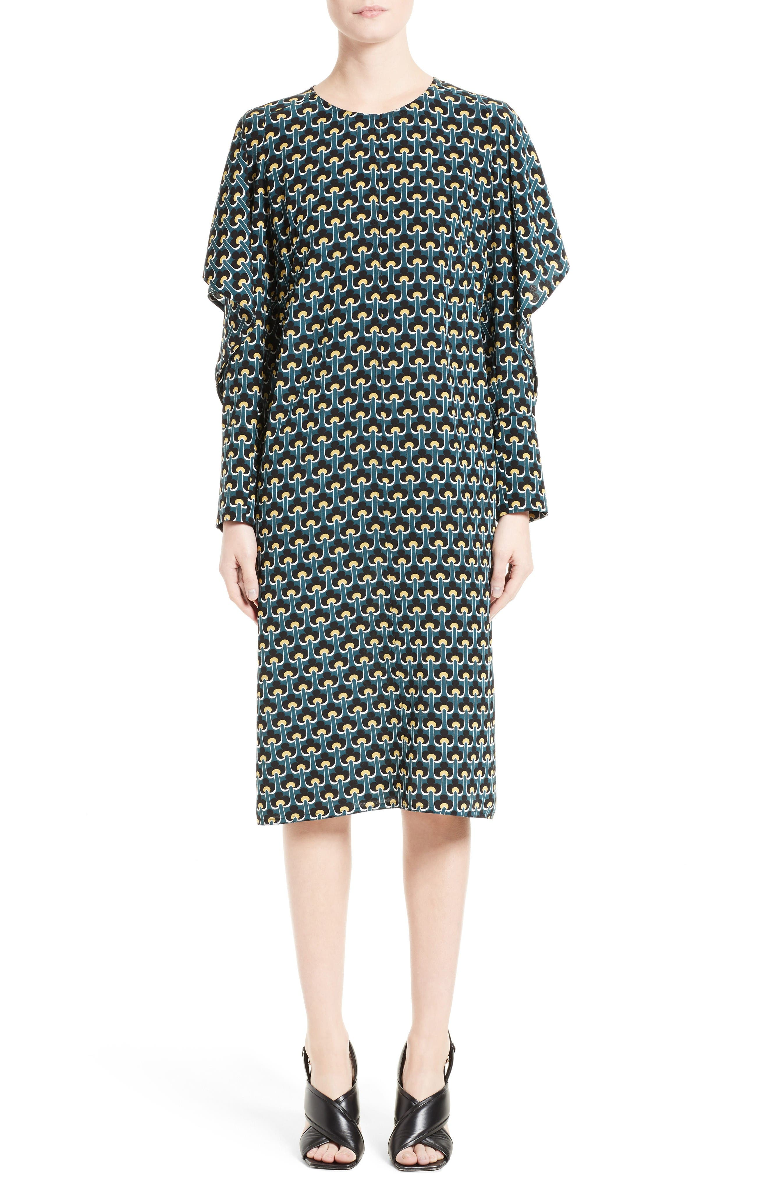 MARNI Print Silk Cold Shoulder Dress