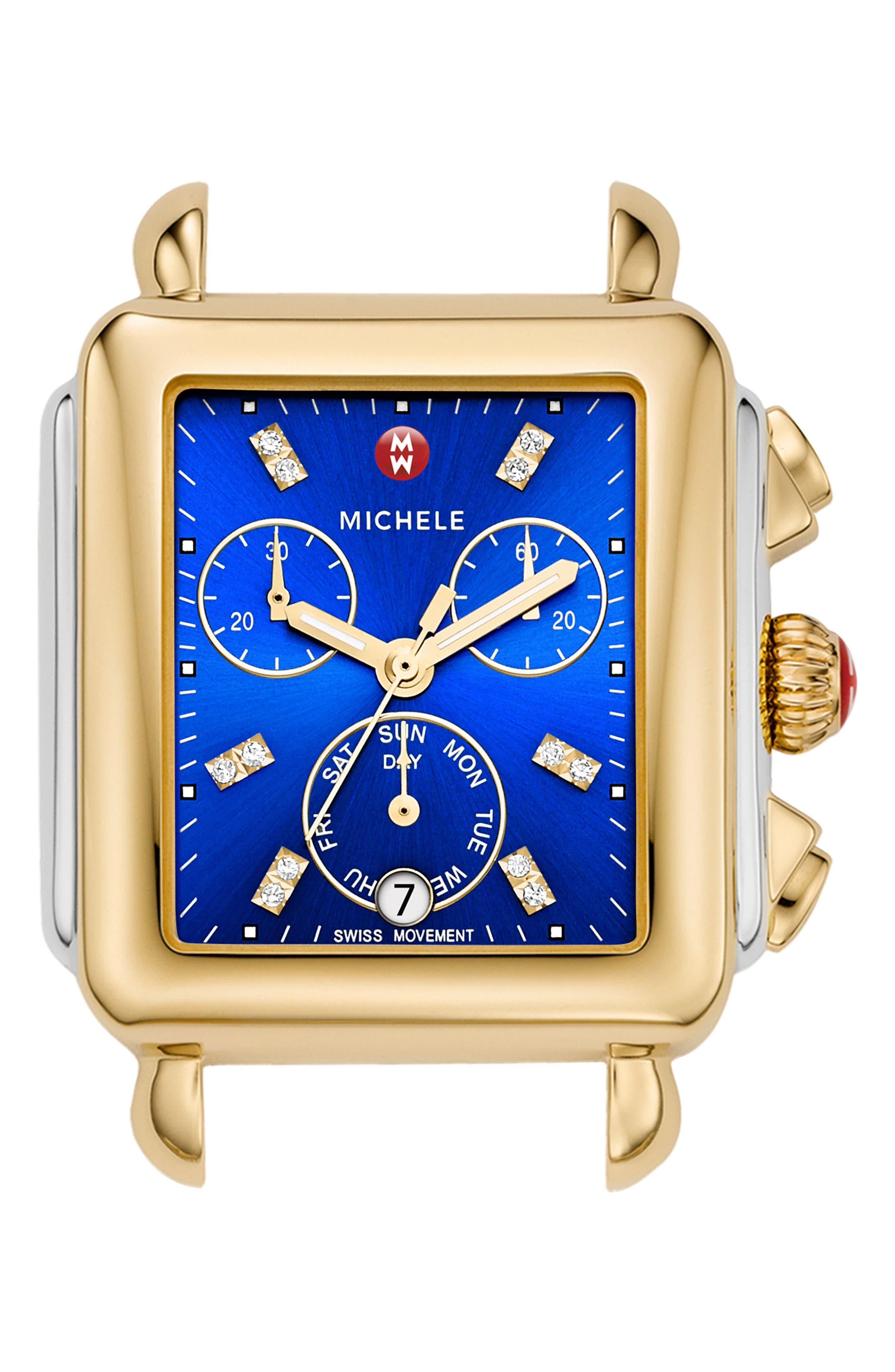 Main Image - MICHELE Deco Diamond Dial Two-Tone Watch Head, 33mm x 35mm
