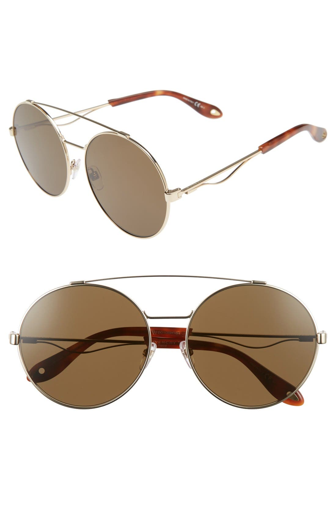 62mm Round Sunglasses,                         Main,                         color, Gold