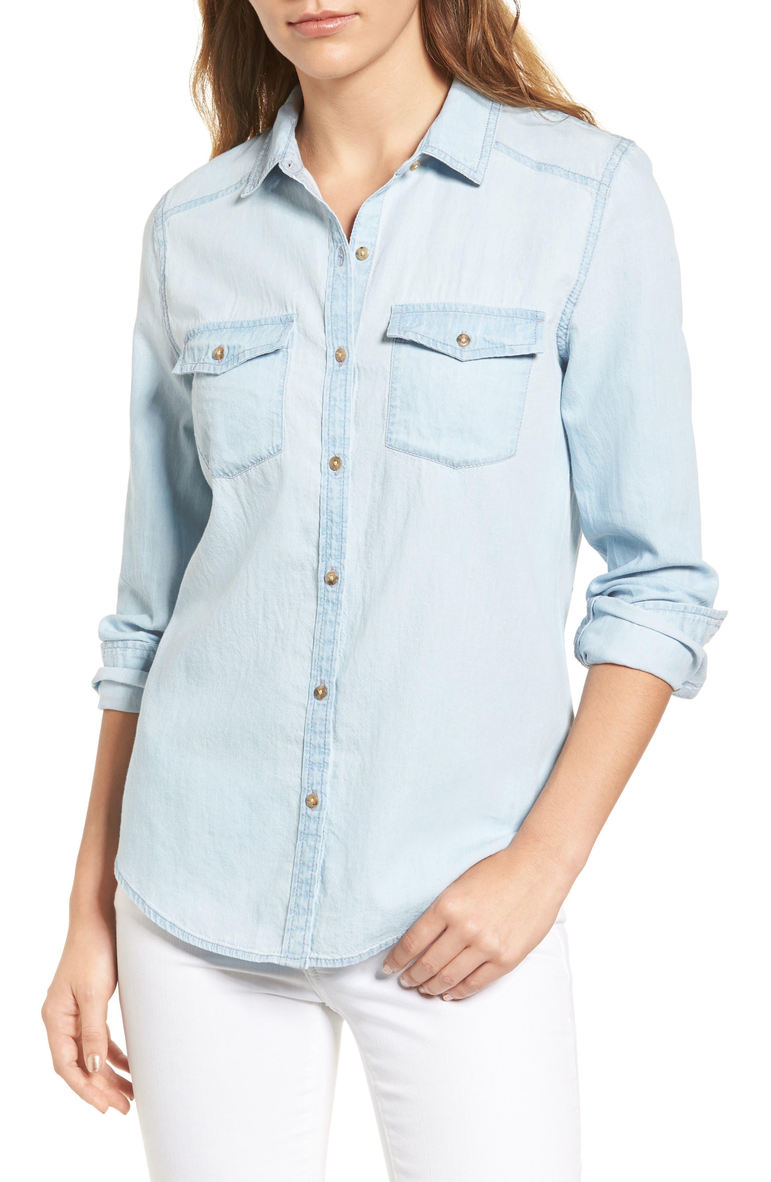 Main Image - Caslon® Chambray Shirt (Regular & Petite)