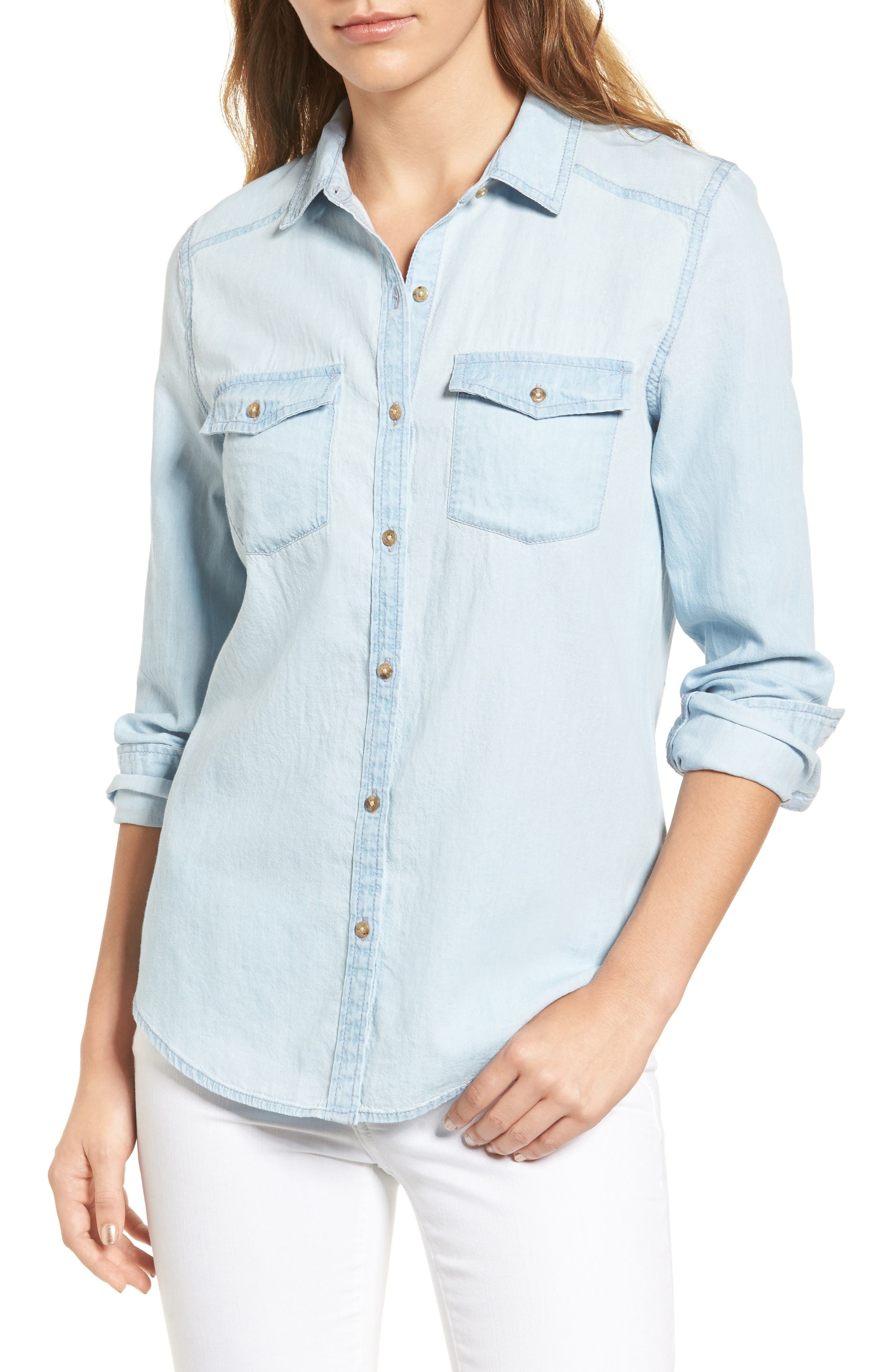 Chambray Shirt,                         Main,                         color, Light Medium Wash