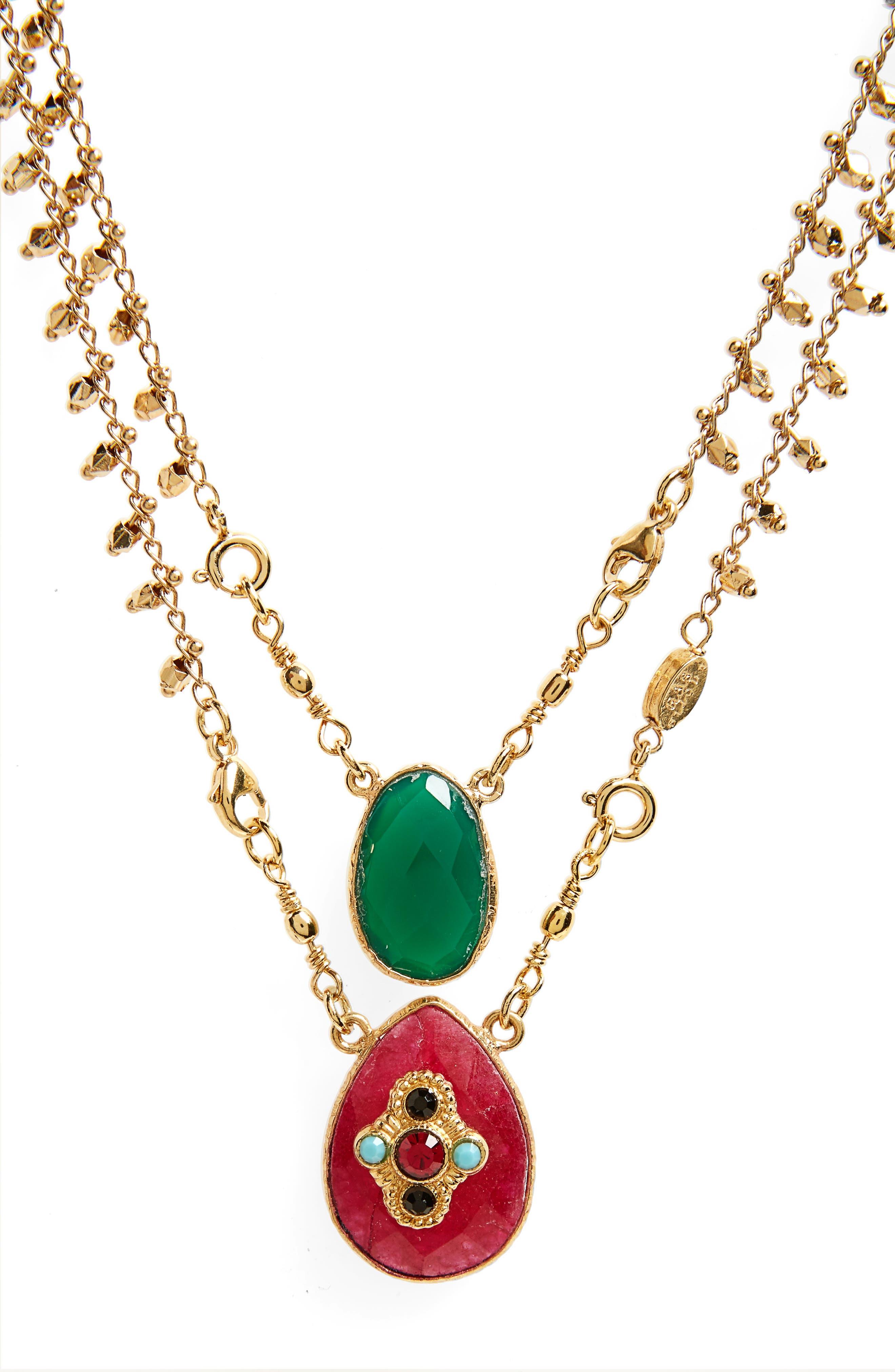 Gas Bijoux Scapulaire Convertible Semiprecious Stone Necklace