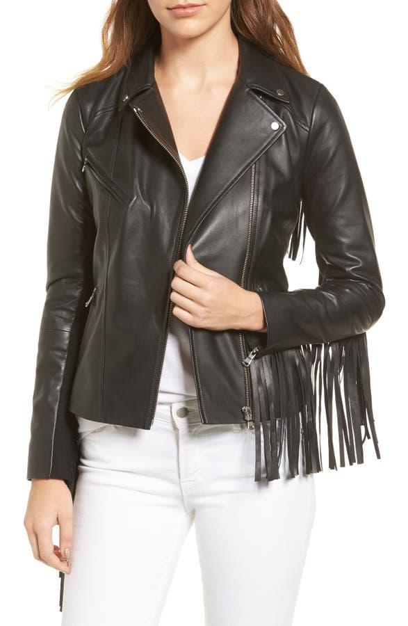 Trouvé Fringe Moto Leather Jacket | Nordstrom