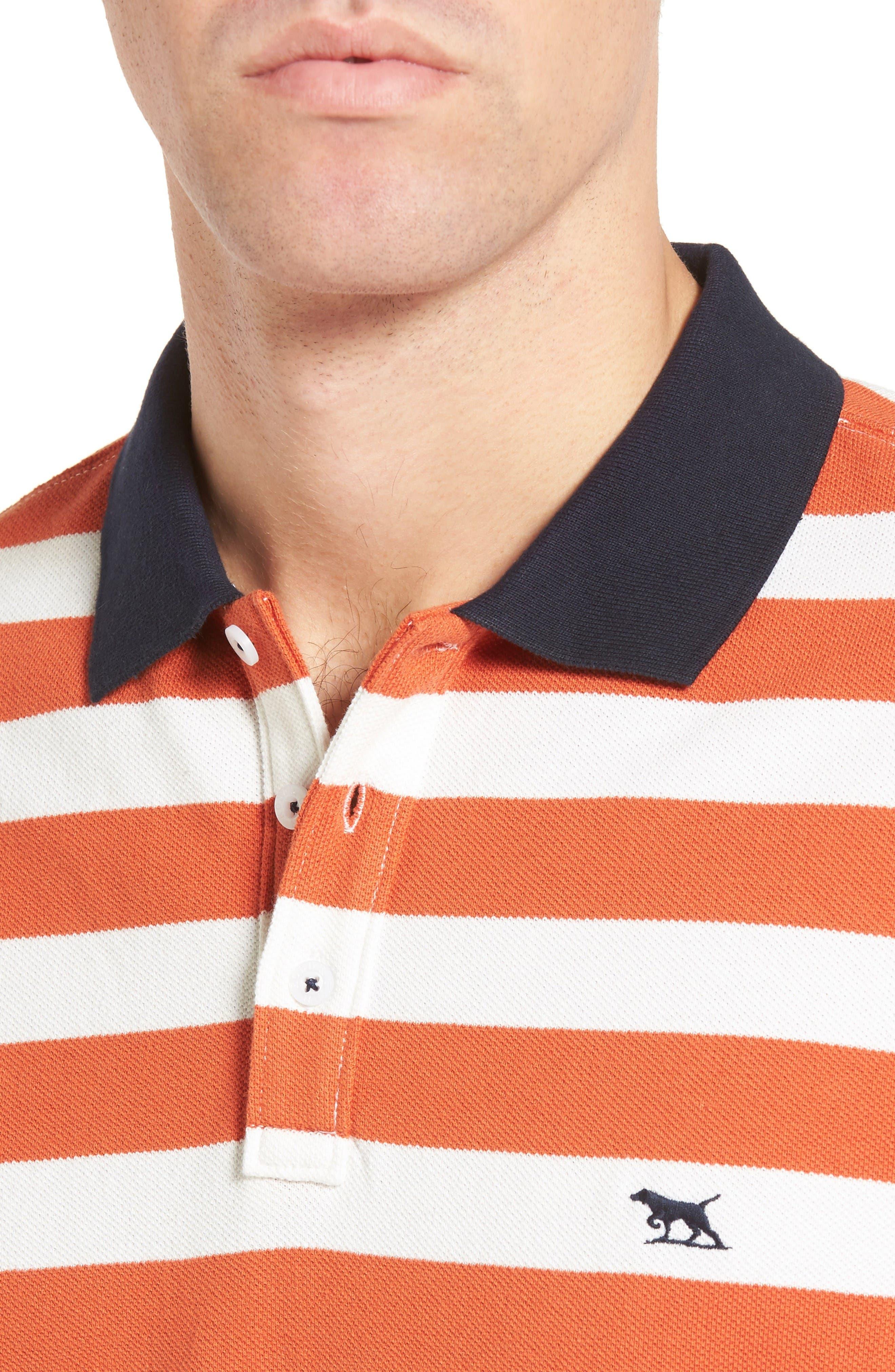 Wallingford Sport Fit Stripe Polo,                             Alternate thumbnail 4, color,                             Ochre