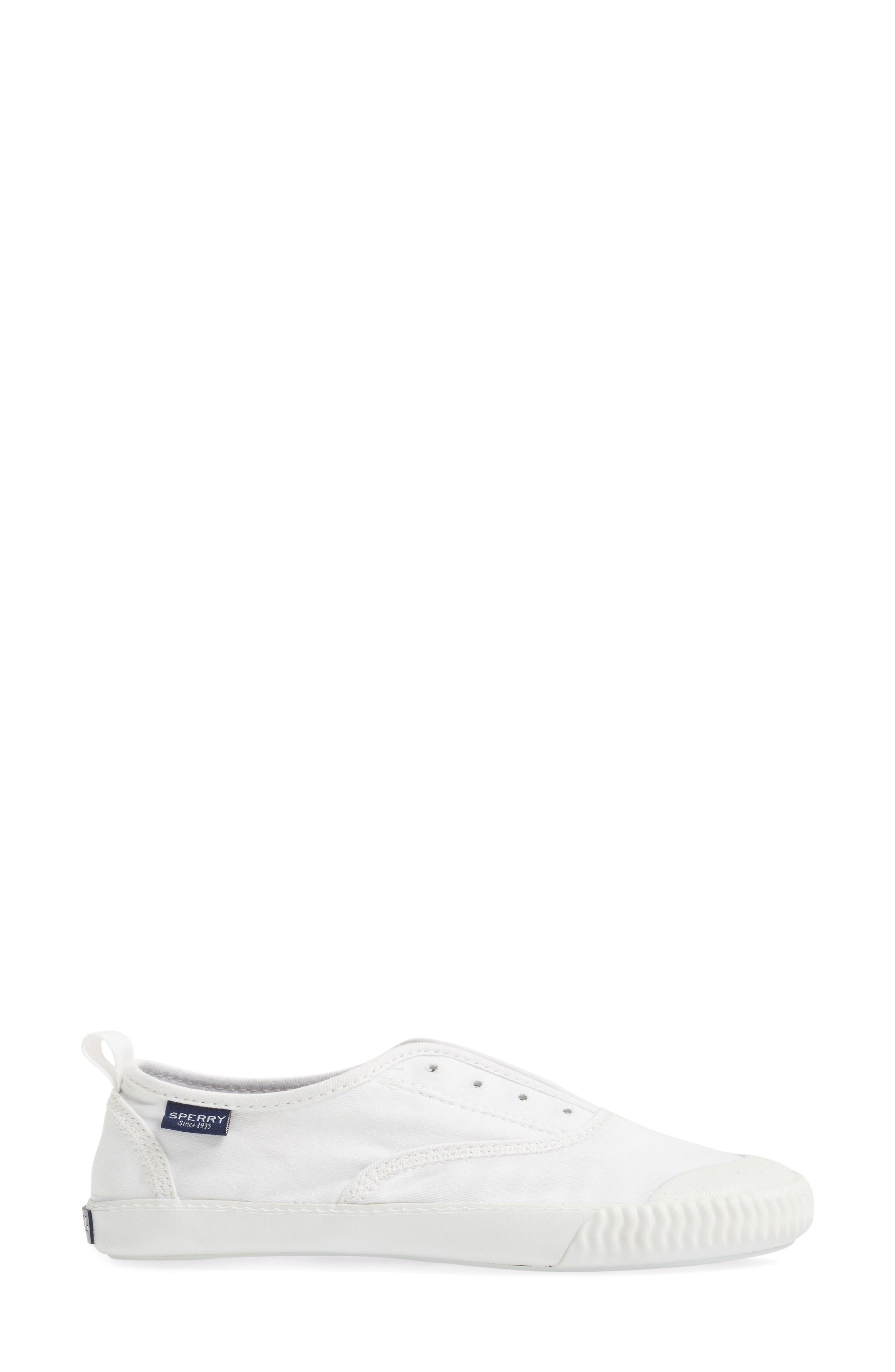 Sayel Slip-On Sneaker,                             Alternate thumbnail 3, color,                             White Fabric