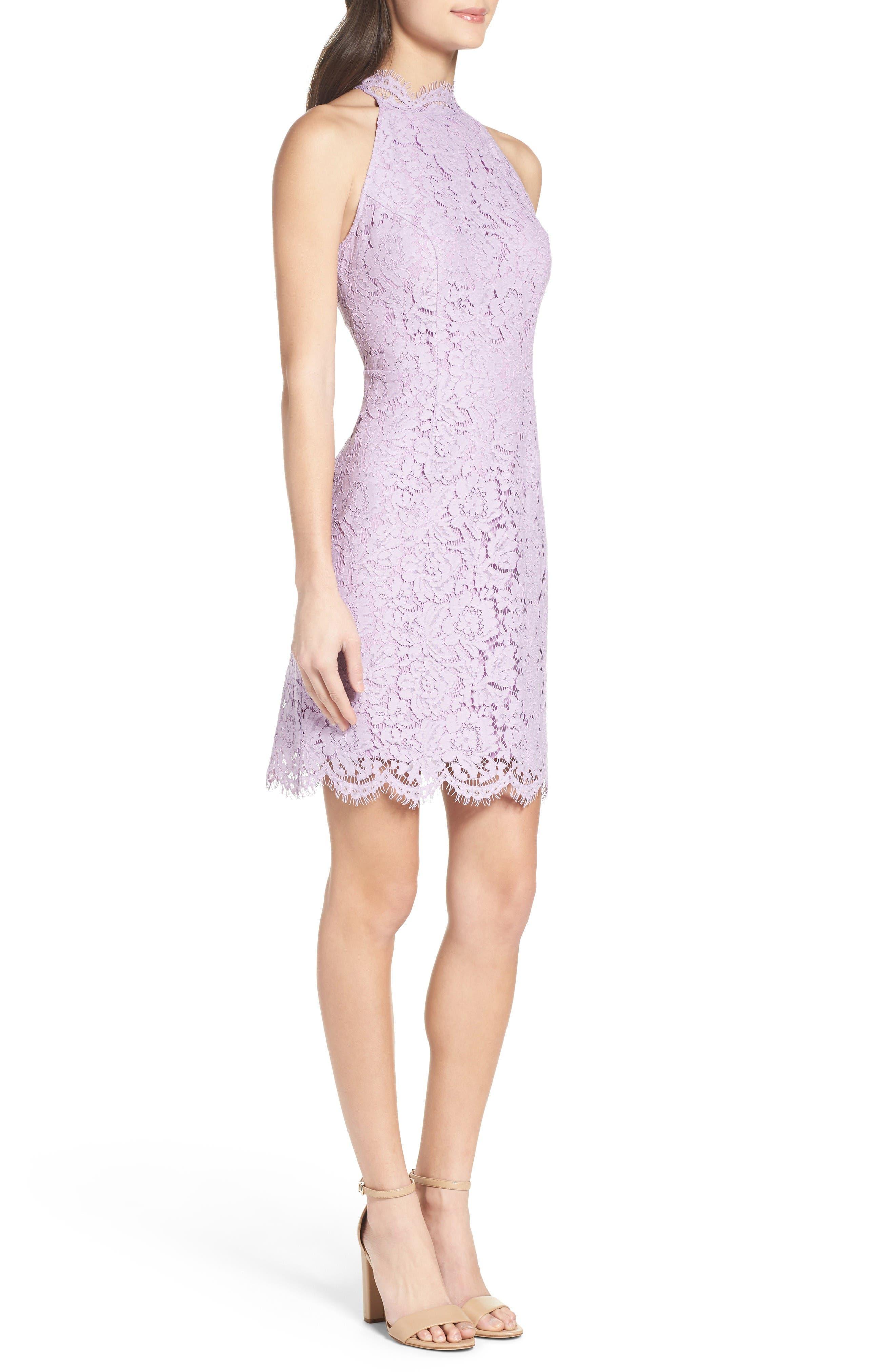 'Cara' High Neck Lace Dress,                             Alternate thumbnail 3, color,                             Lavender