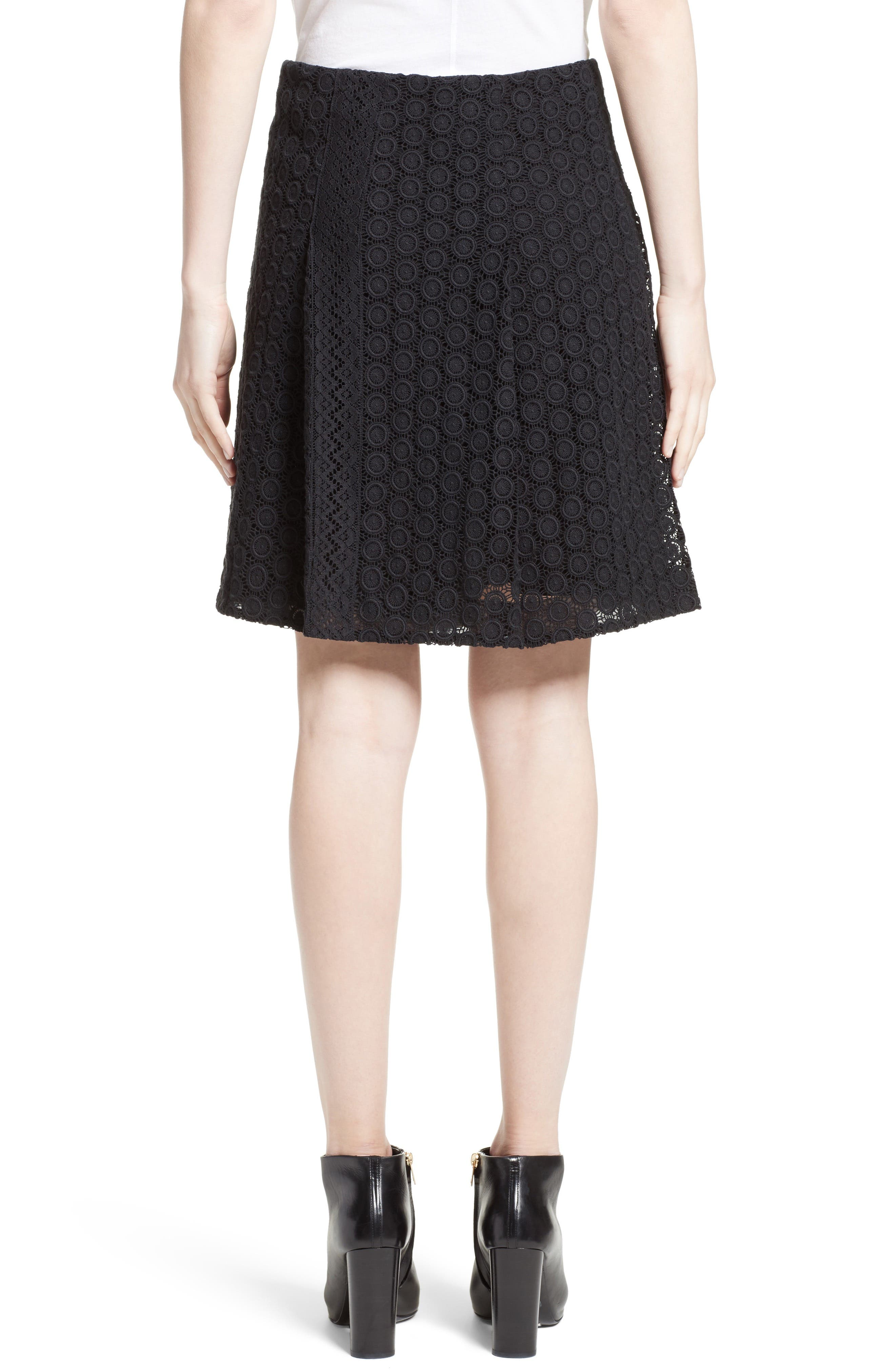 Howe Mixed Lace Pleated Wrap Skirt,                             Alternate thumbnail 2, color,                             Black