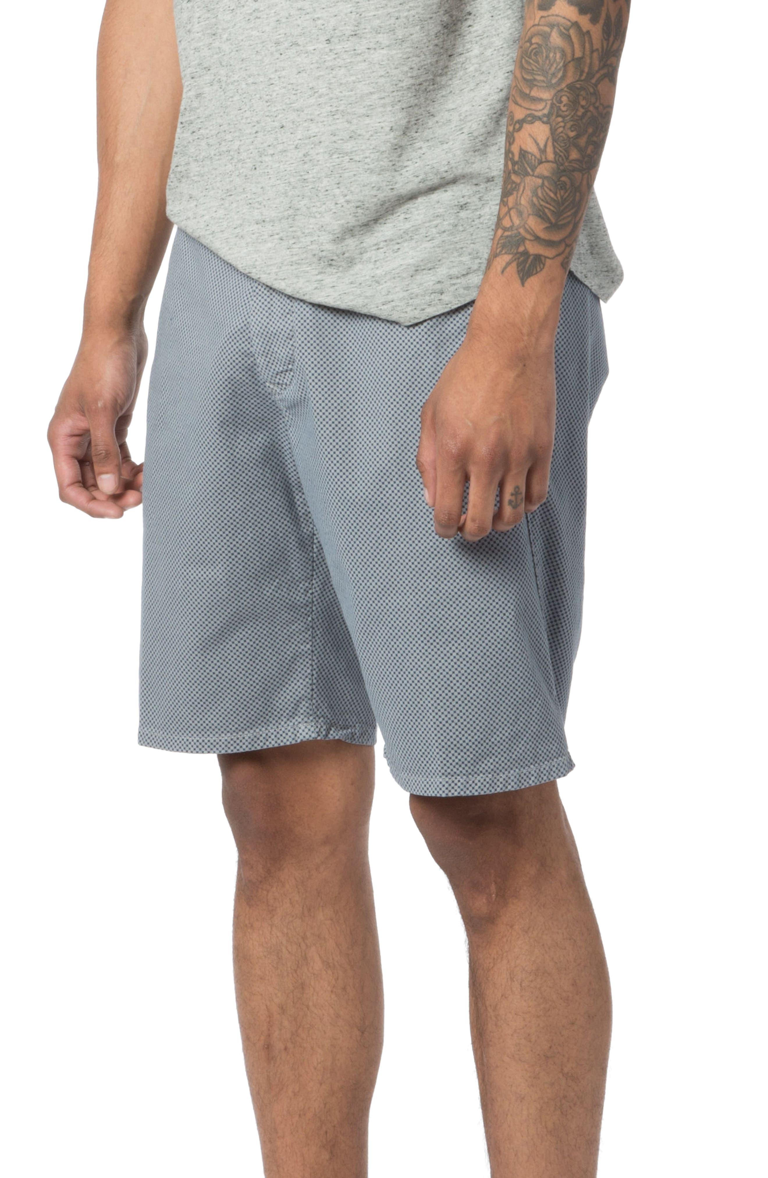 Modern Fit Micro Pattern Chino Shorts,                             Alternate thumbnail 4, color,                             Alloy Micro Cross Dot