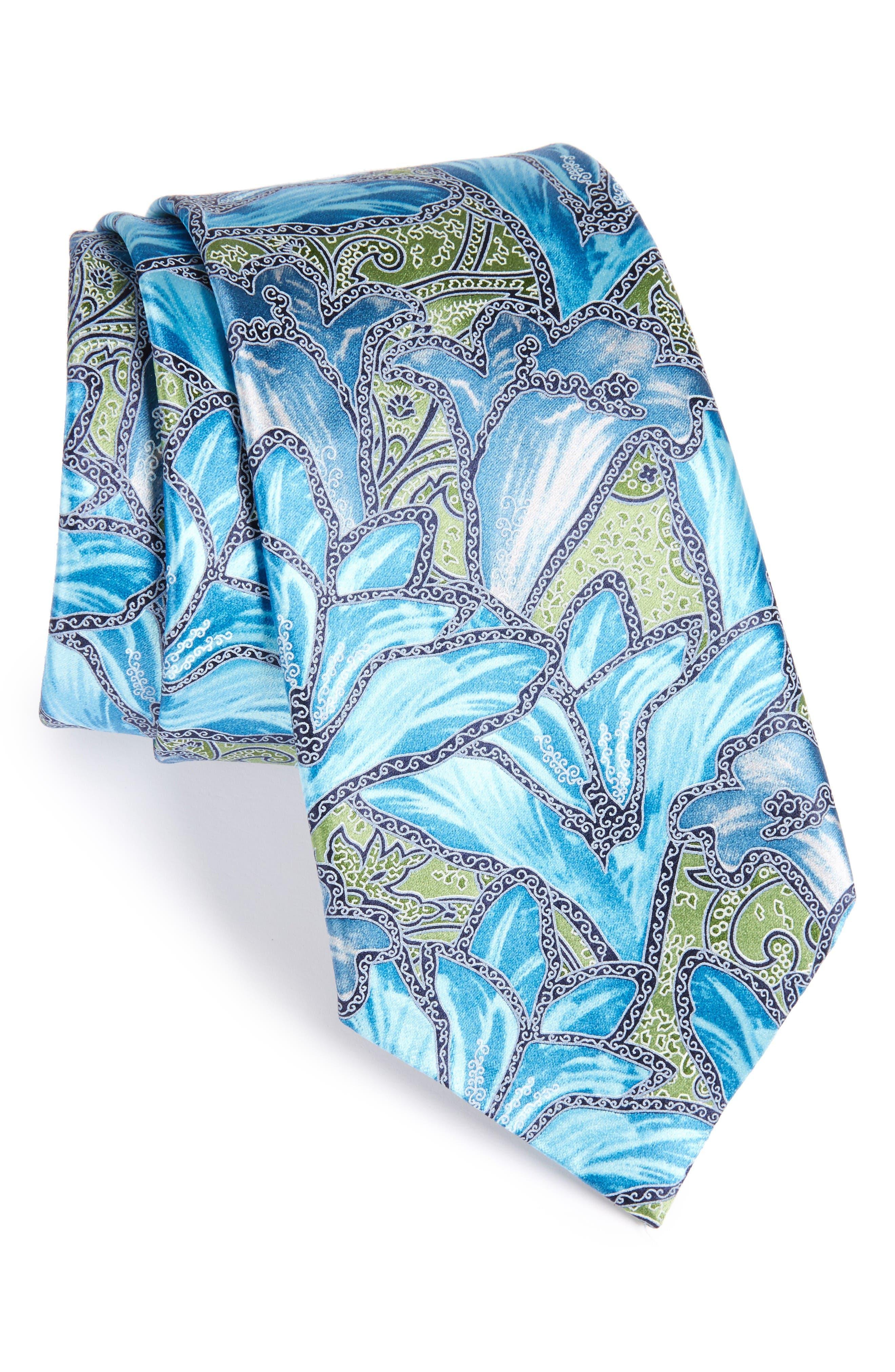 Floral Silk Tie,                             Main thumbnail 1, color,                             Green