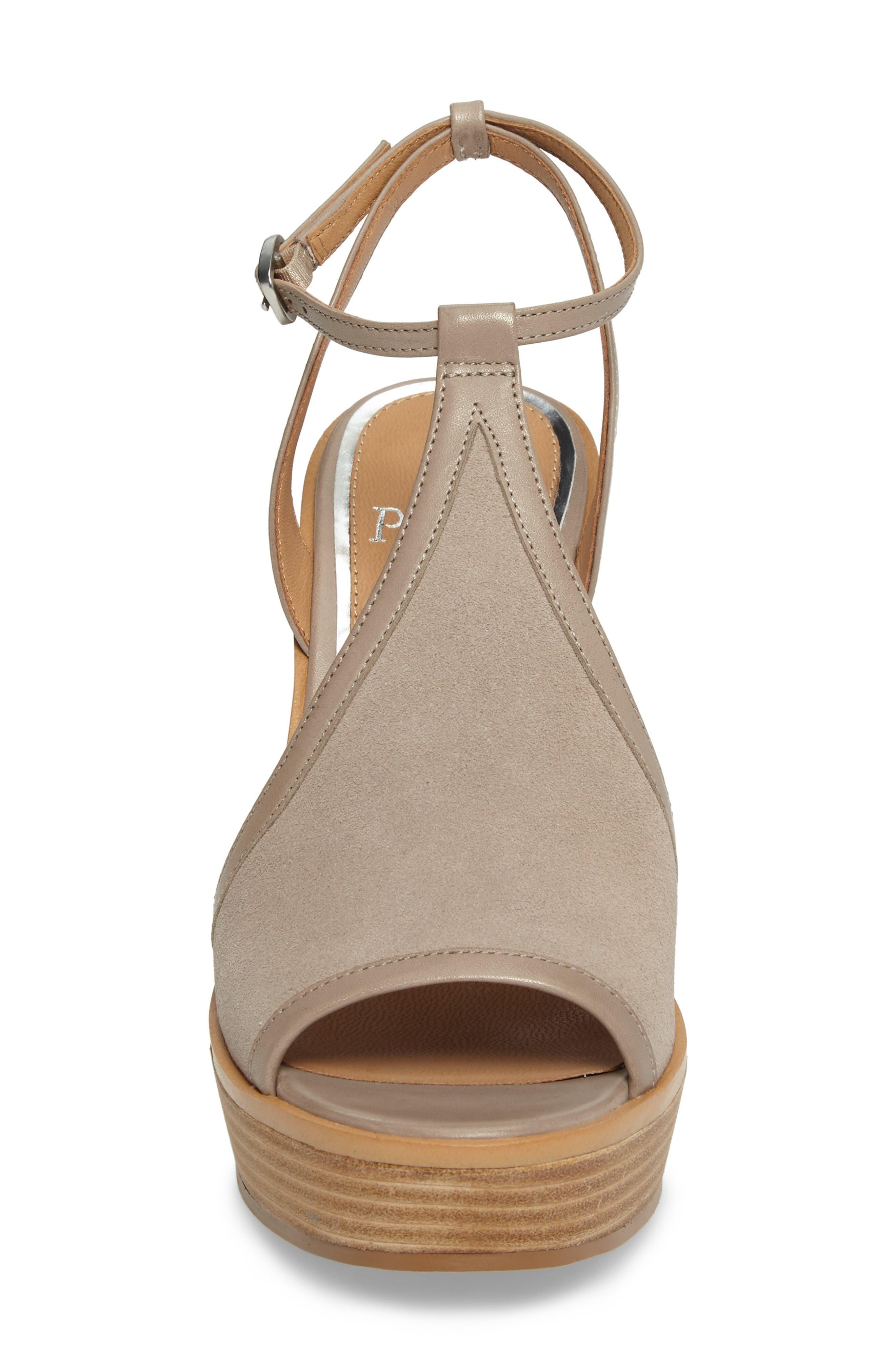 India T-Strap Platform Sandal,                             Alternate thumbnail 4, color,                             Rock Suede