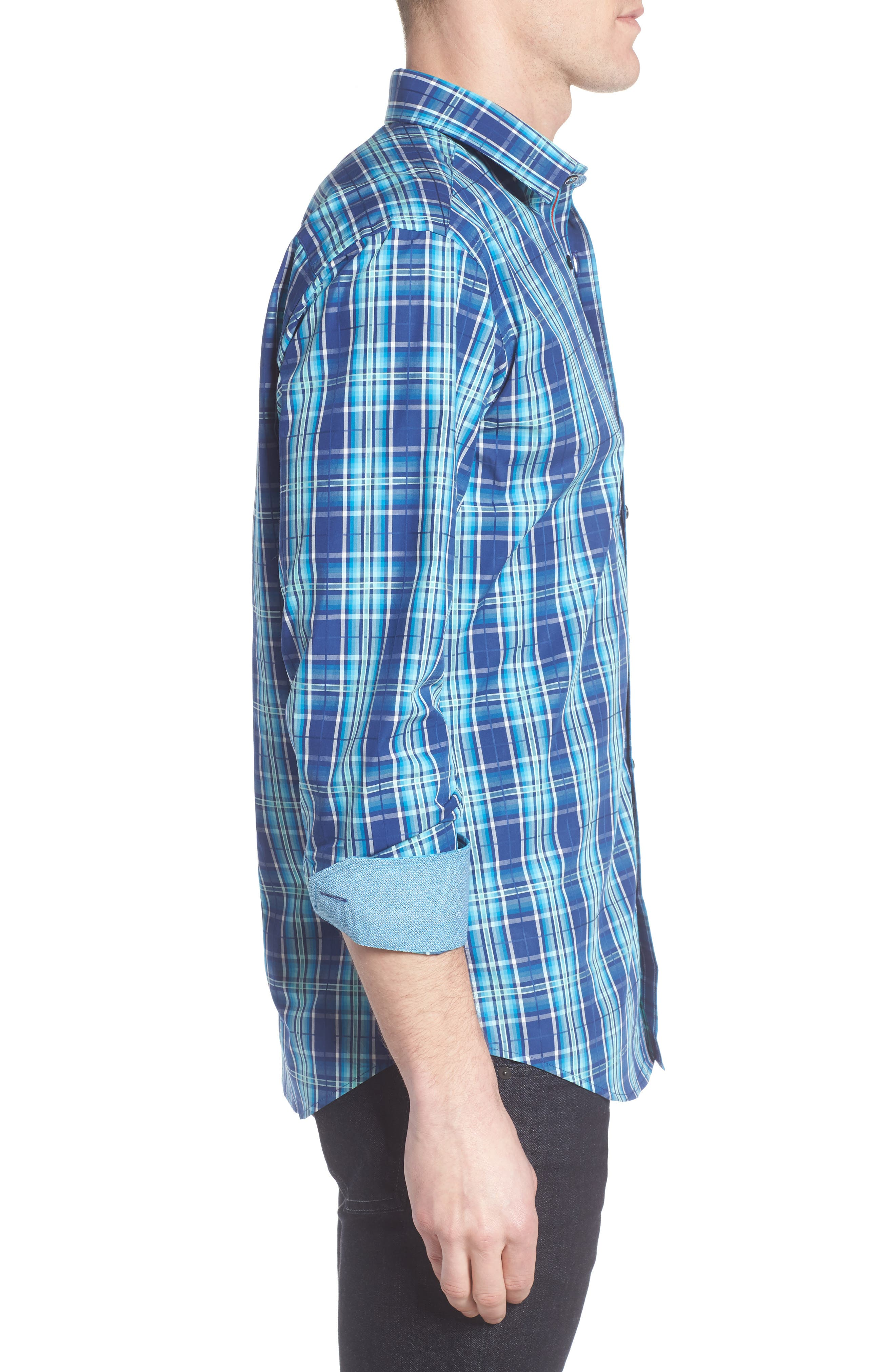 Shaped Fit Plaid Sport Shirt,                             Alternate thumbnail 3, color,                             Navy