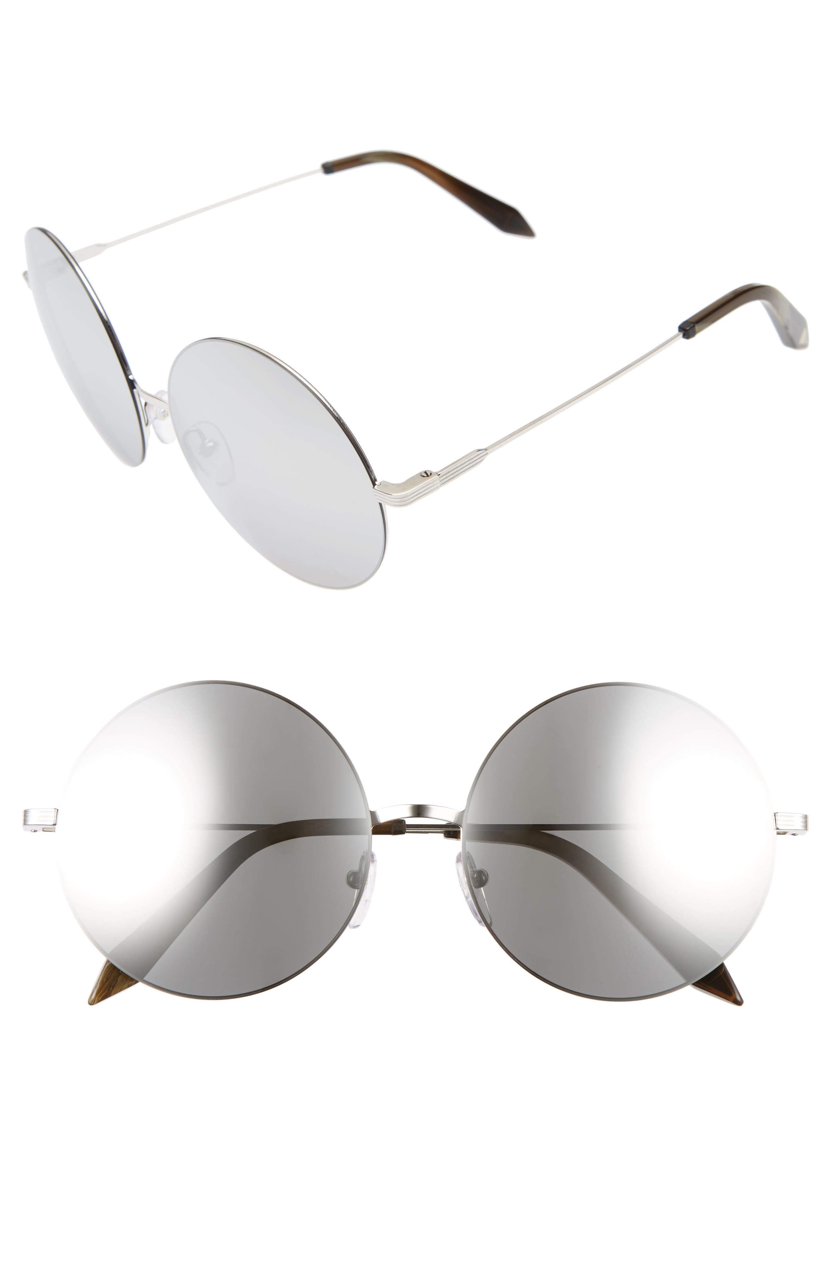 Main Image - Victoria Beckham Feather 58mm Round Sunglasses