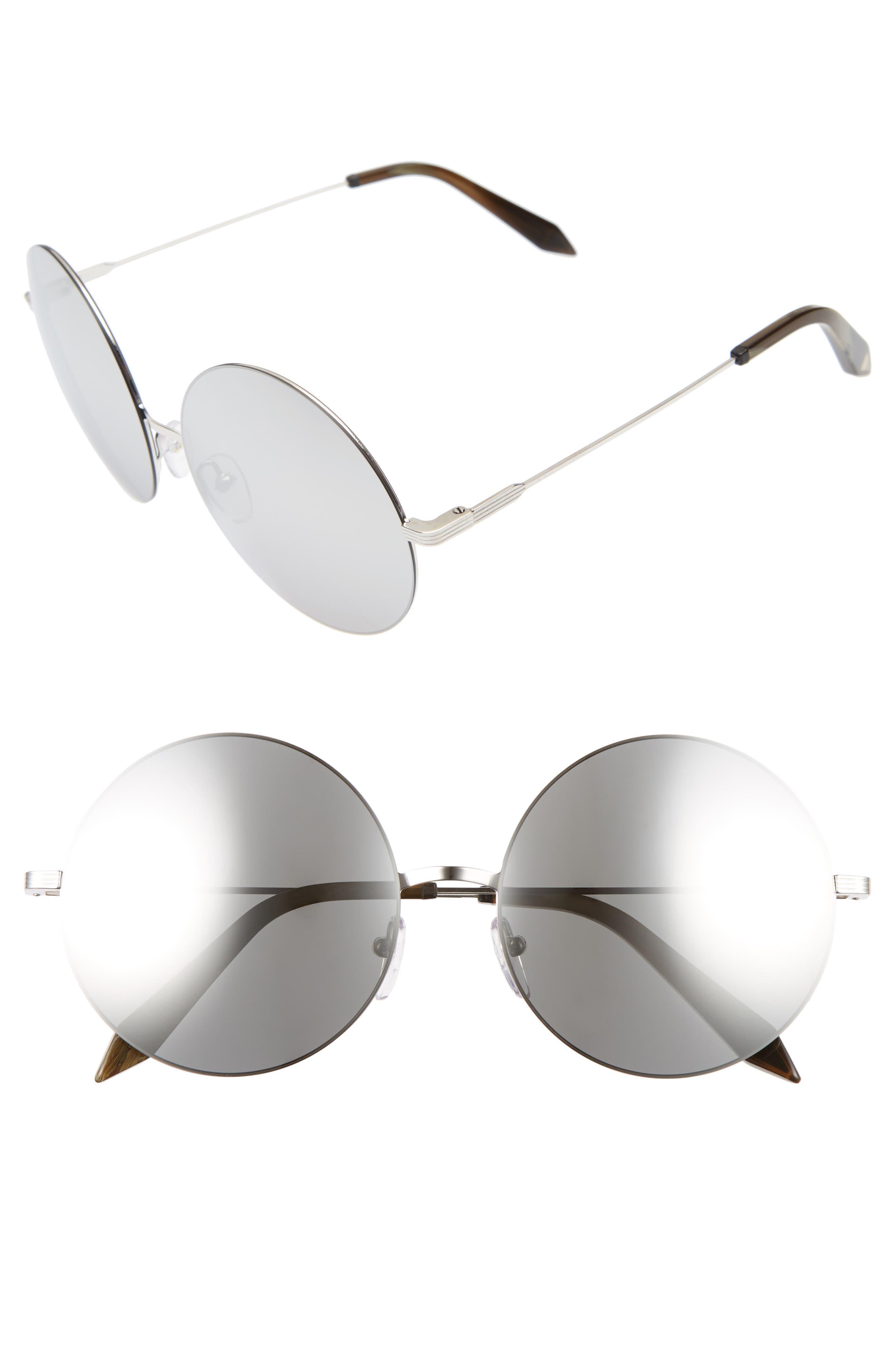 Feather 58mm Round Sunglasses,                         Main,                         color, Platinum Mirror