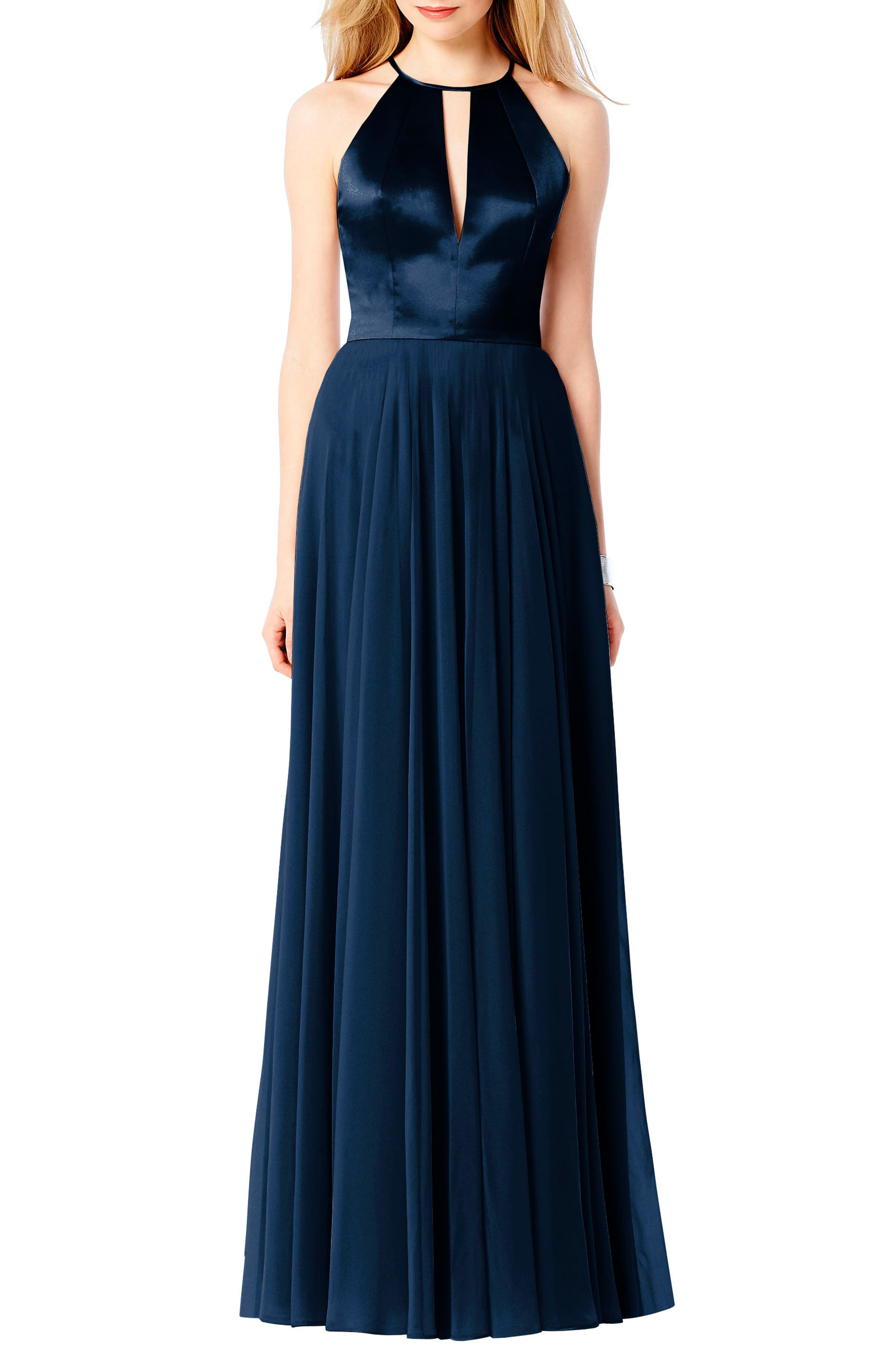Satin & Chiffon Gown,                         Main,                         color, Midnight