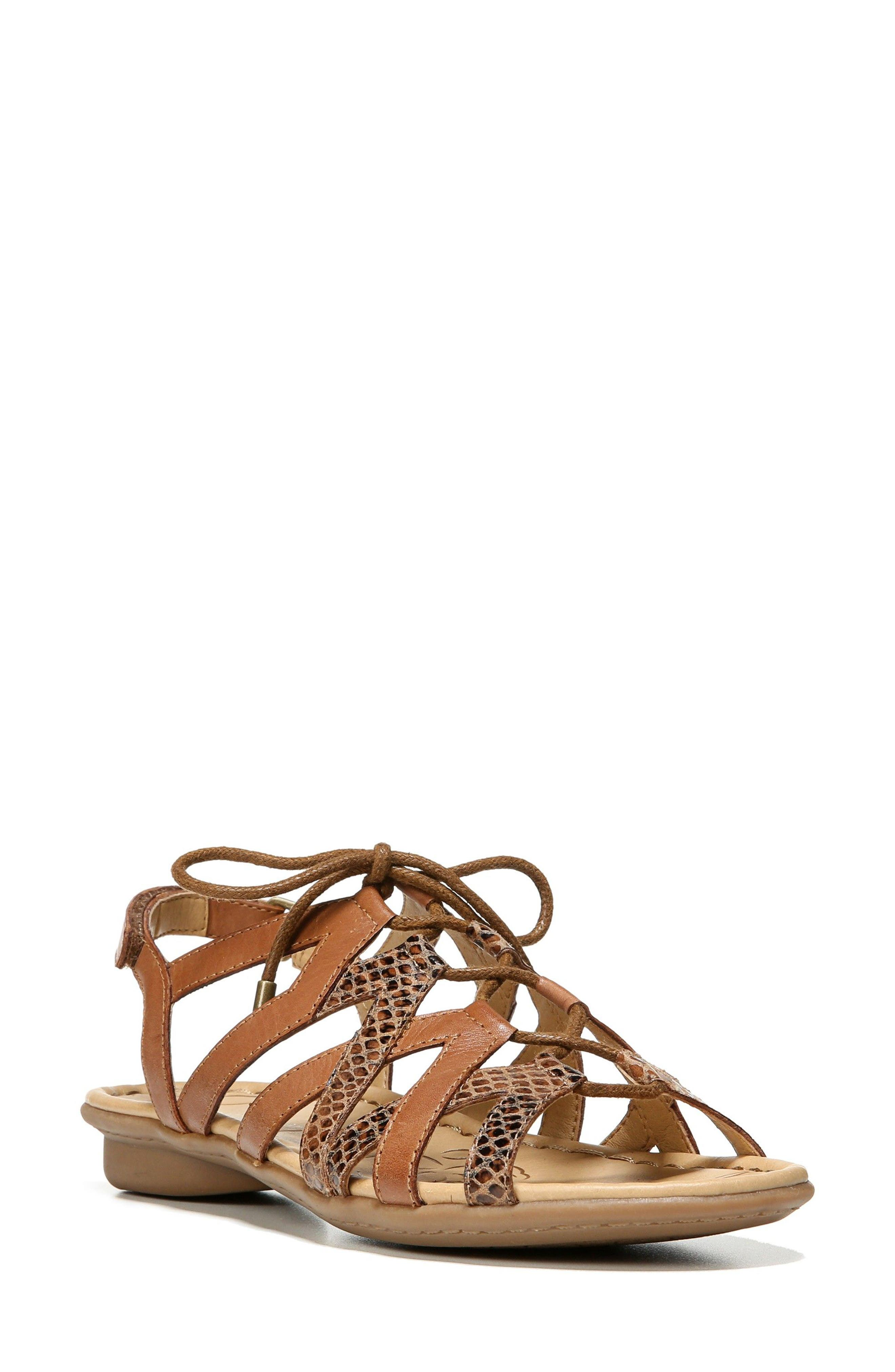 'Whimsy' Ghillie Sandal,                             Main thumbnail 1, color,                             Saddle Leather