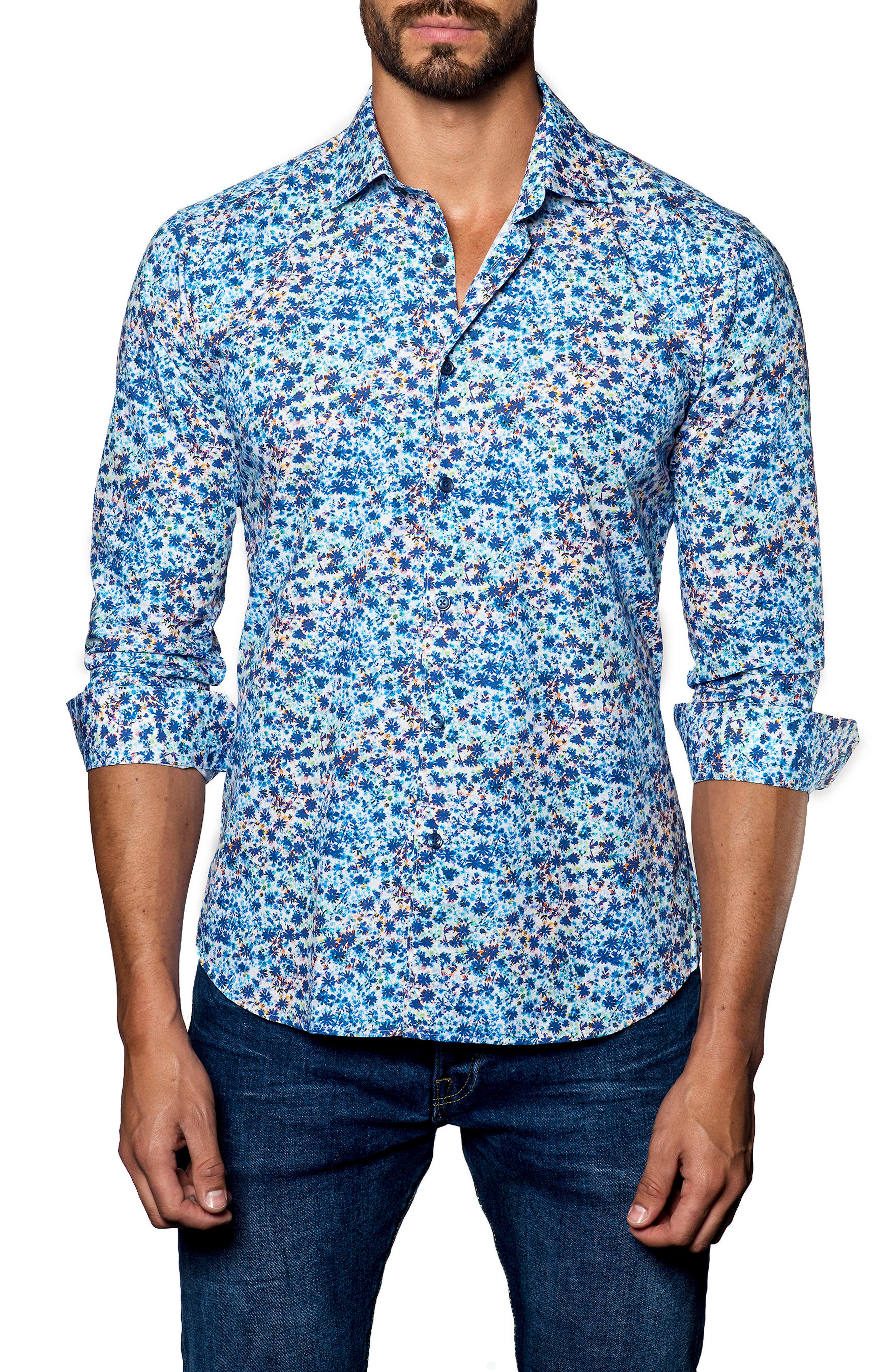 Trim Fit Print Sport Shirt,                         Main,                         color, White Multi