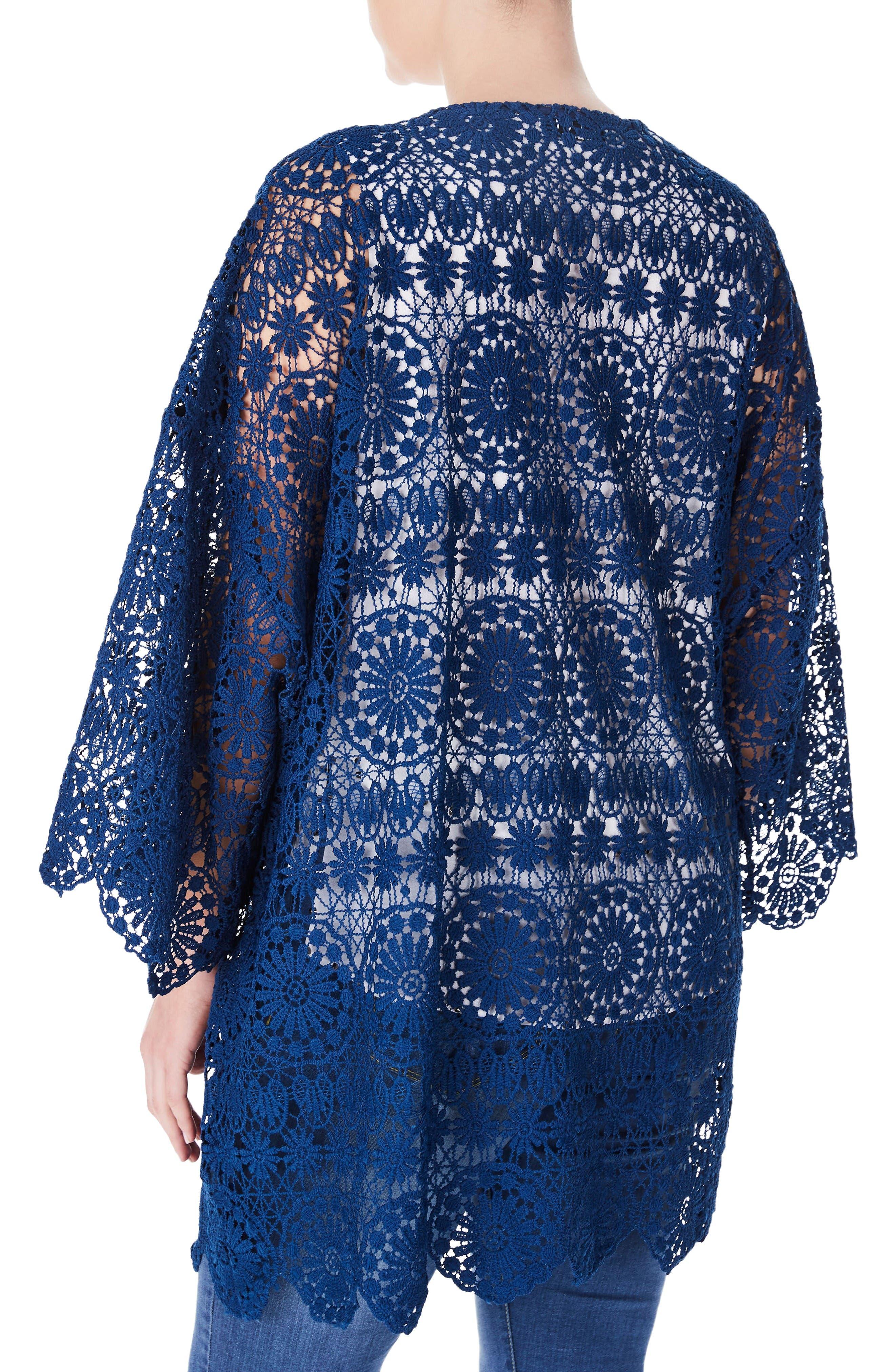 Alternate Image 2  - ELVI Lace Kimono (Plus Size)