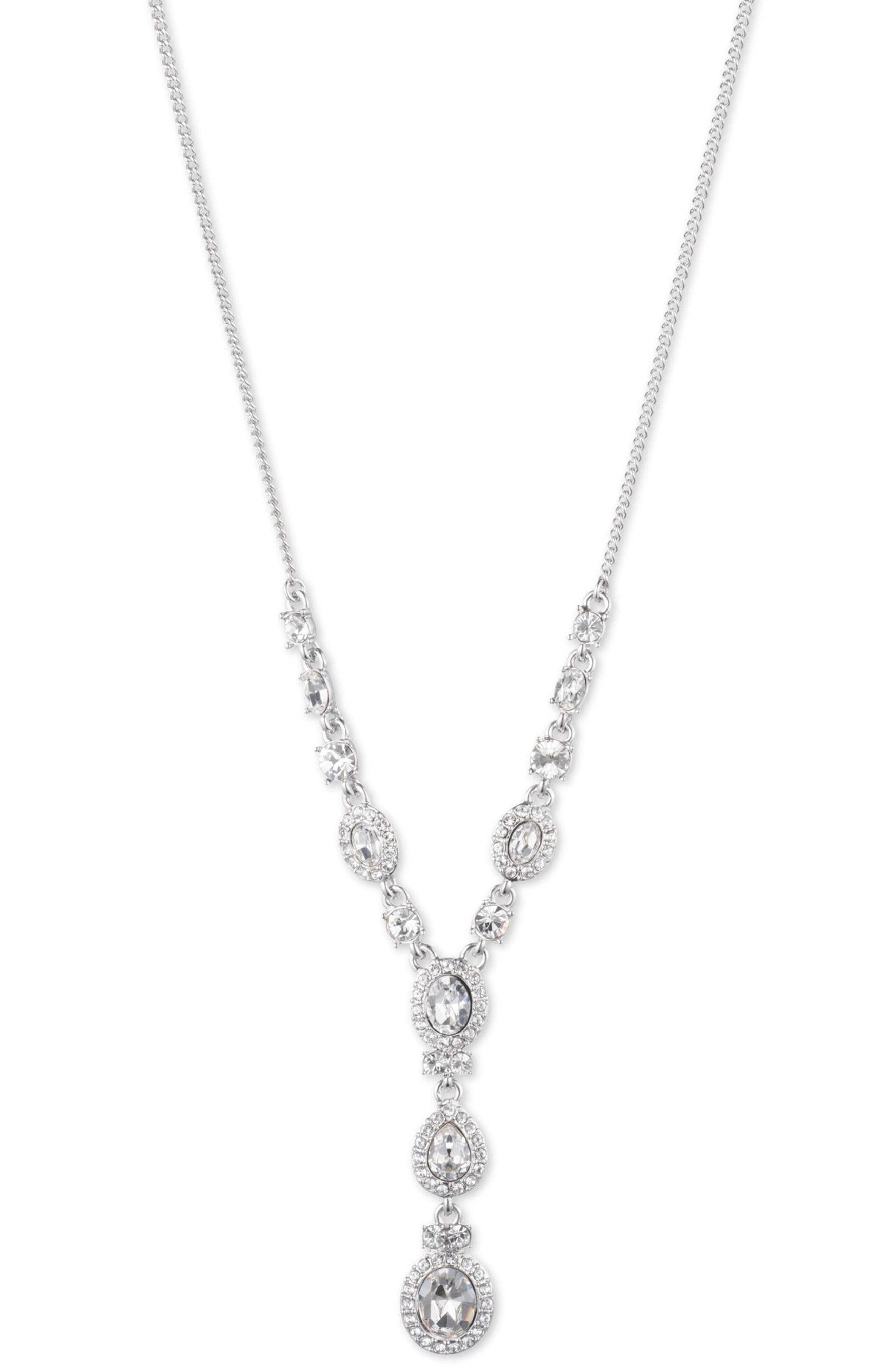 Crystal Y-Necklace,                         Main,                         color, Silver