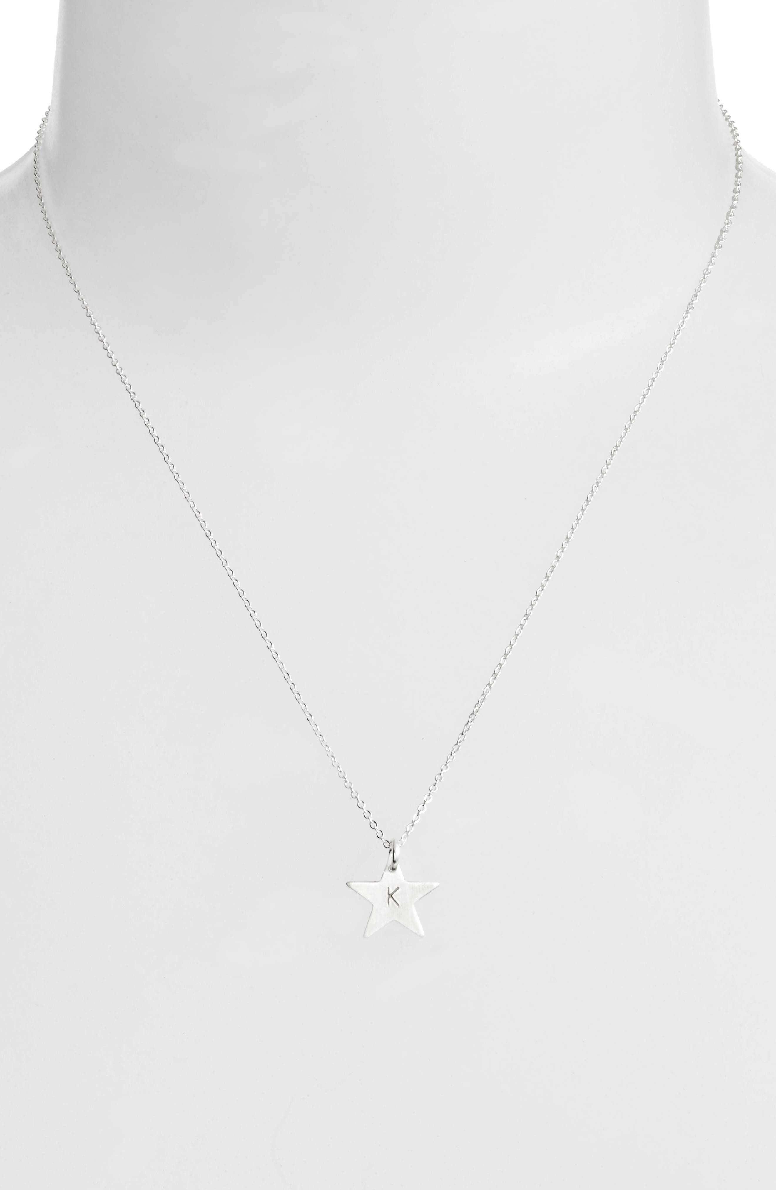 Sterling Silver Initial Mini Star Pendant Necklace,                             Alternate thumbnail 2, color,                             Silver/ K