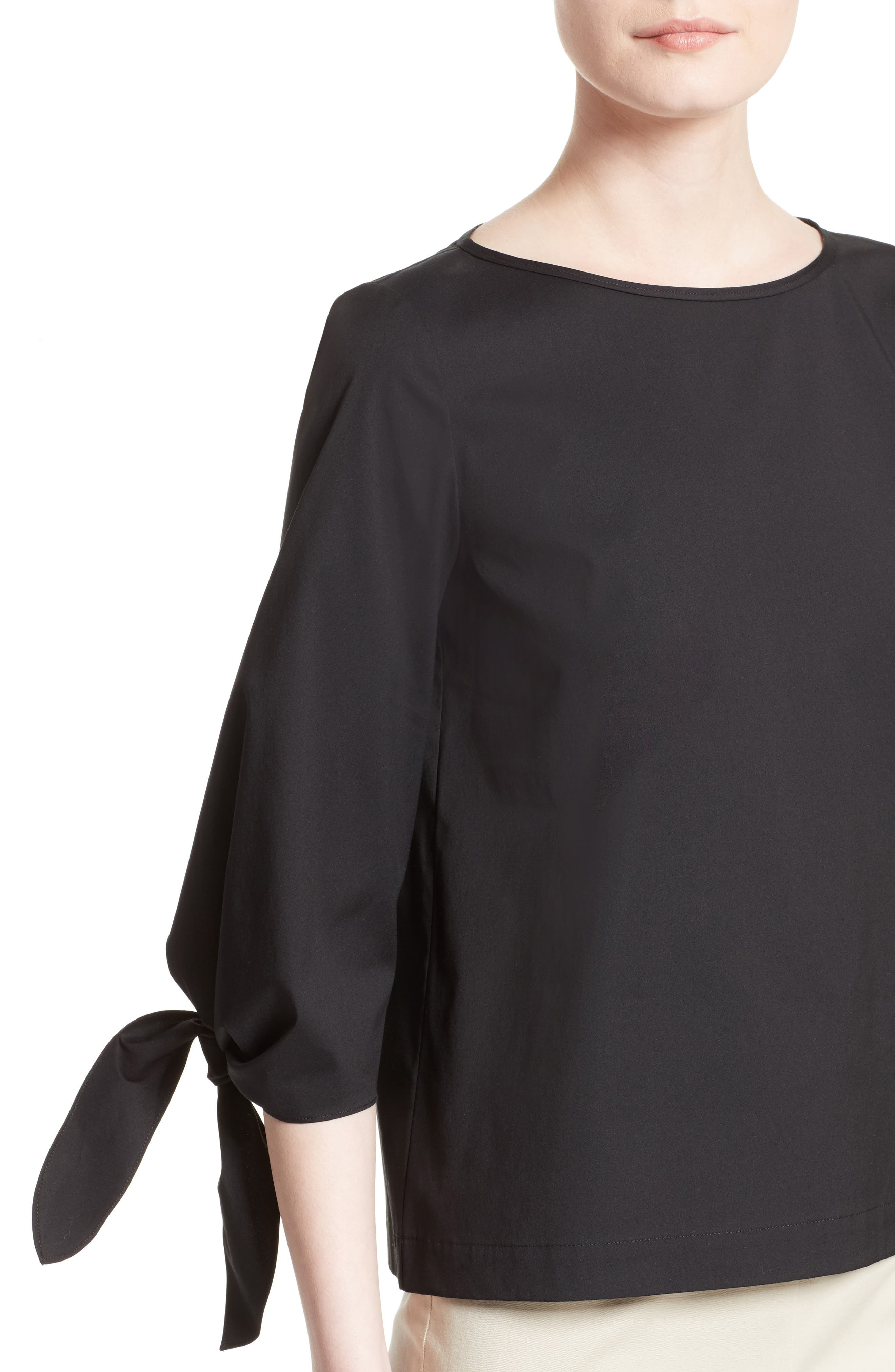 Elaina Stretch Cotton Blouse,                             Alternate thumbnail 6, color,                             Black