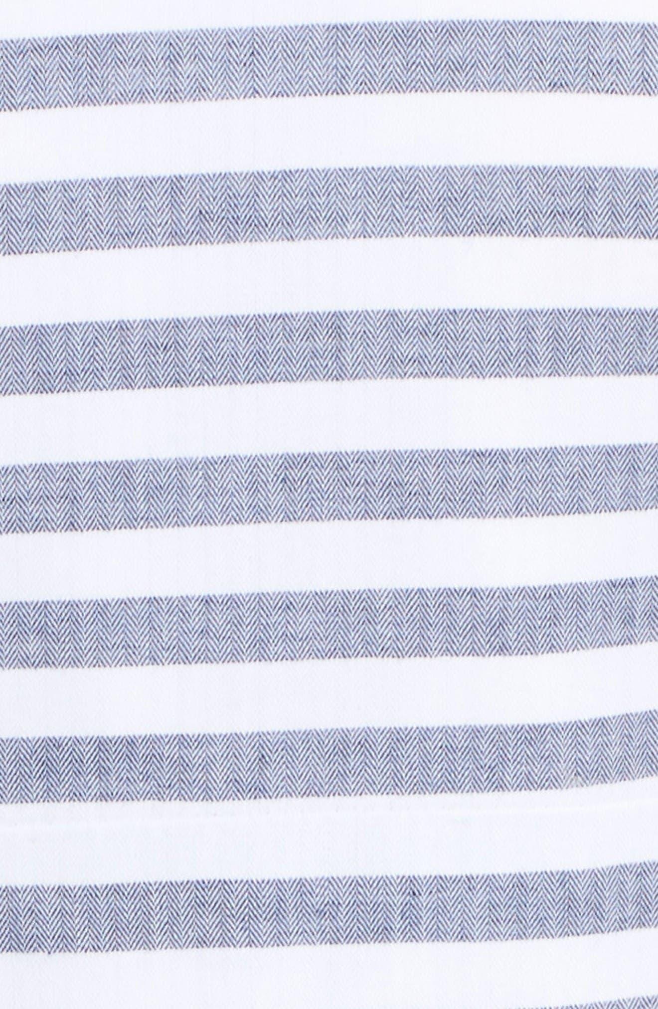 Stripe Fit & Flare Dress,                             Alternate thumbnail 5, color,                             Navy/ Ivory