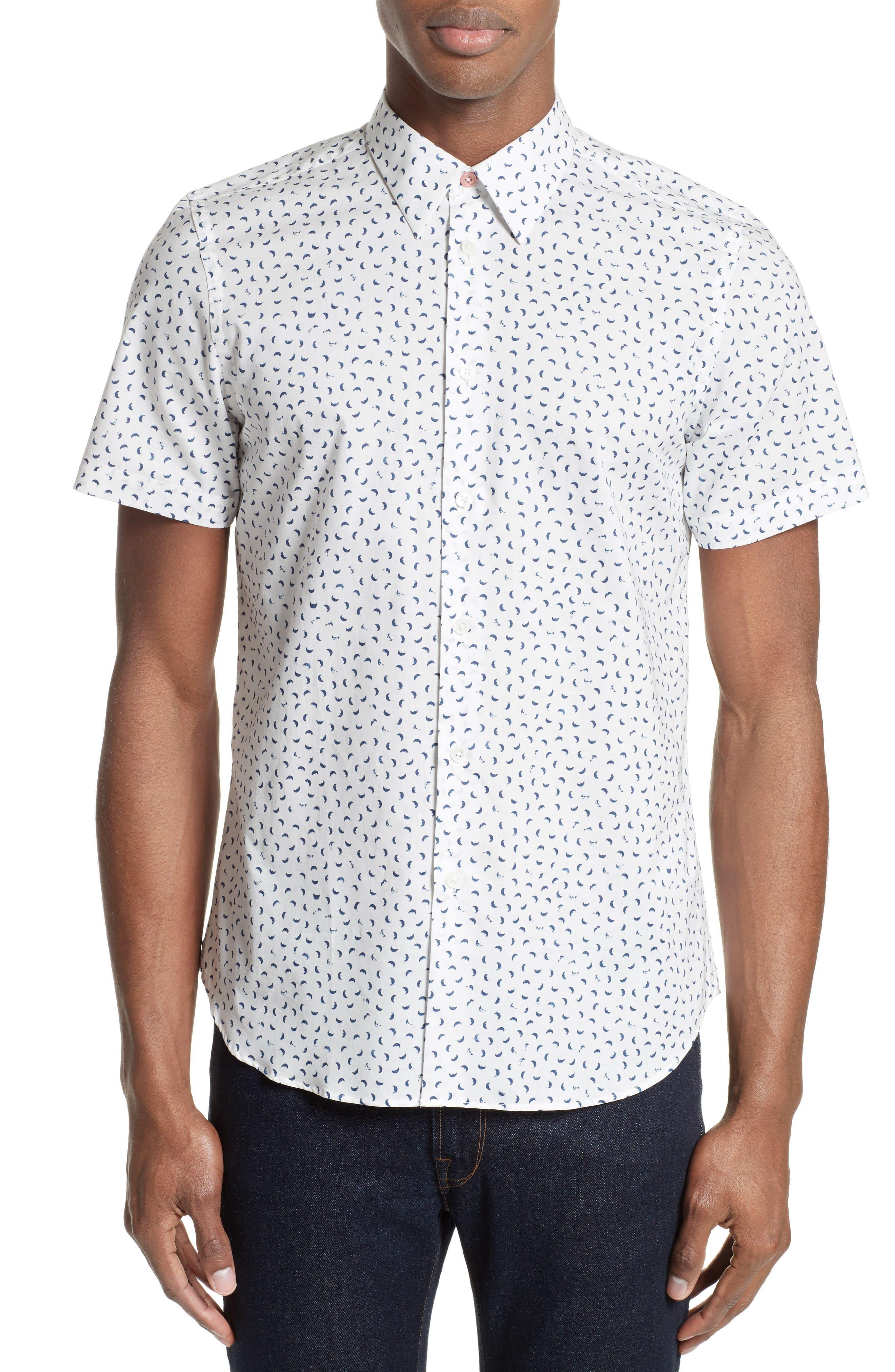 PS Paul Smith Extra Trim Fit Half Moon Print Sport Shirt
