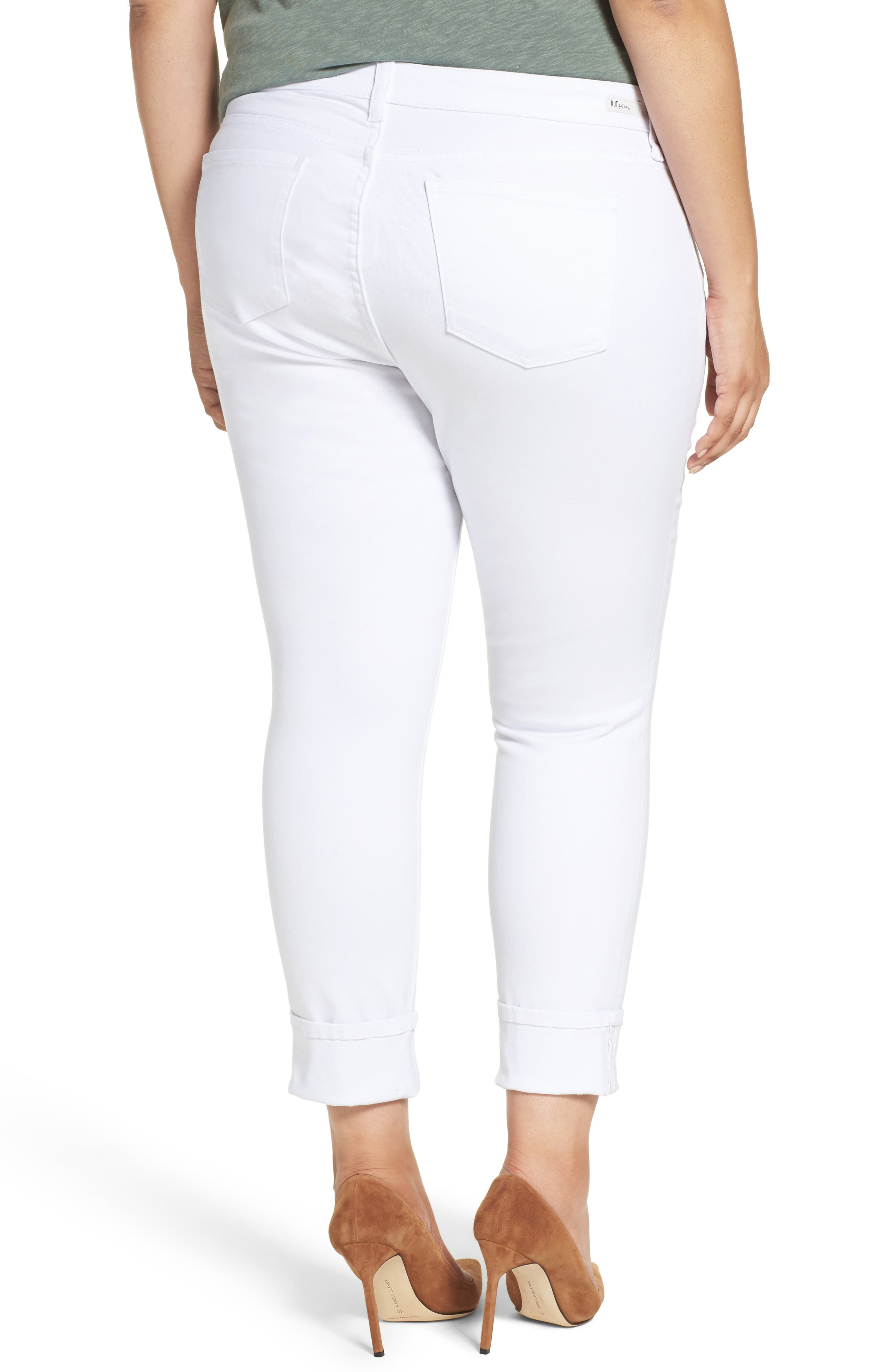 Alternate Image 2  - KUT from the Kloth Catherine Distressed Wide Cuff Boyfriend Jeans (Optic White) (Plus Size)