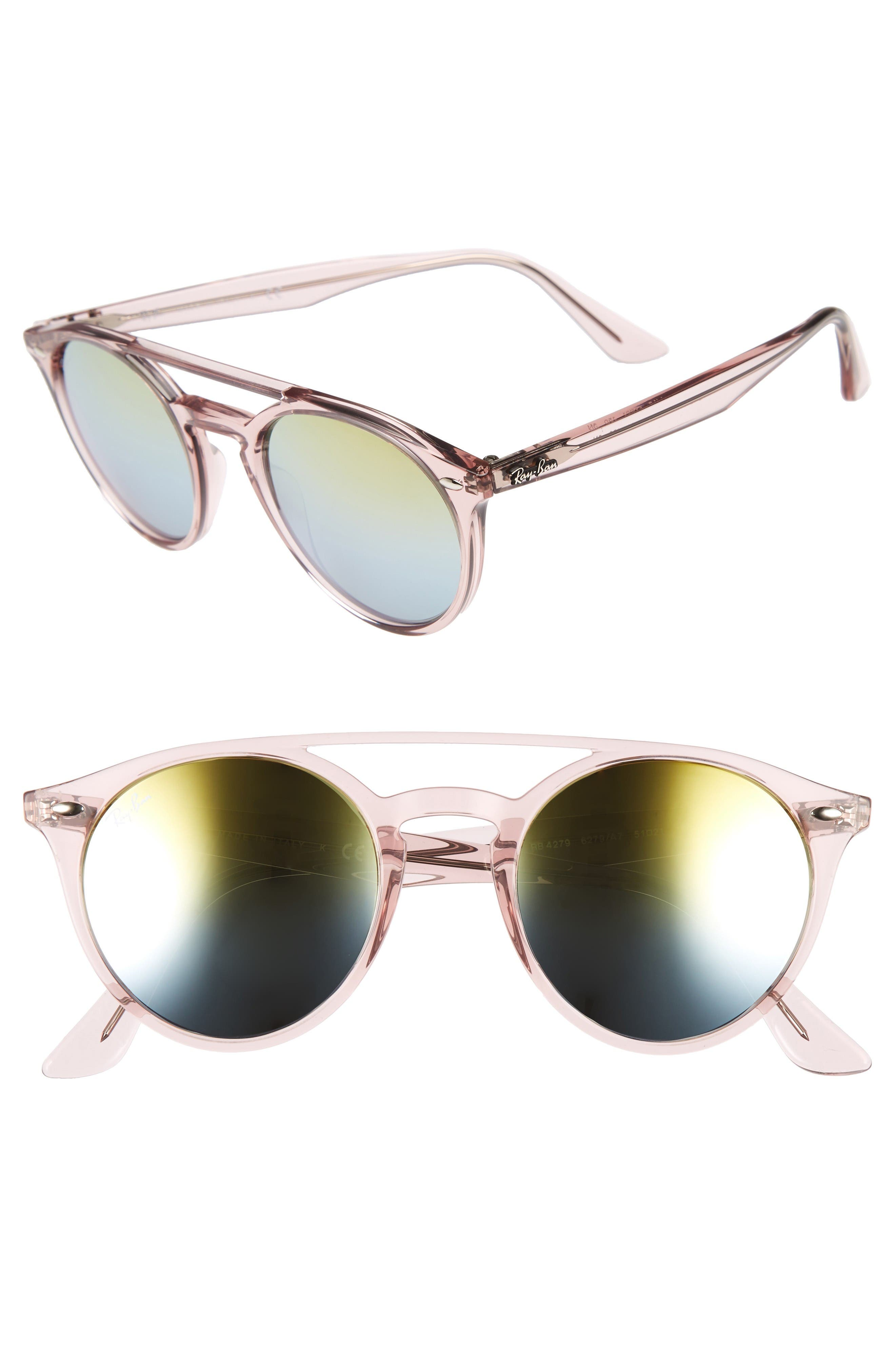 51mm Mirrored Rainbow Sunglasses,                         Main,                         color, Pink Rainbow